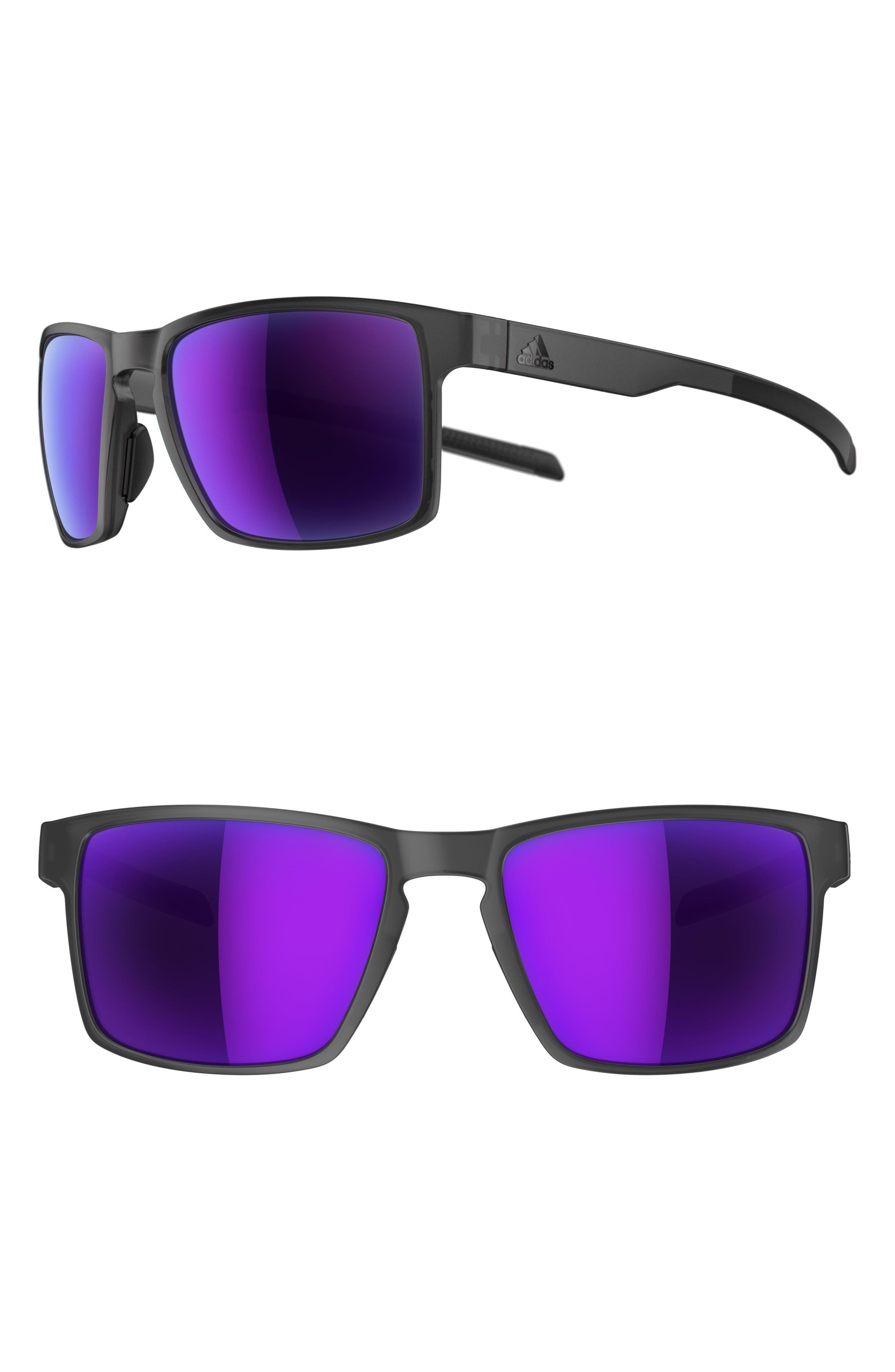 Wayfinder 56mm Mirrored Sport Sunglasses,                         Main,                         color, MATTE COAL/ VIOLA