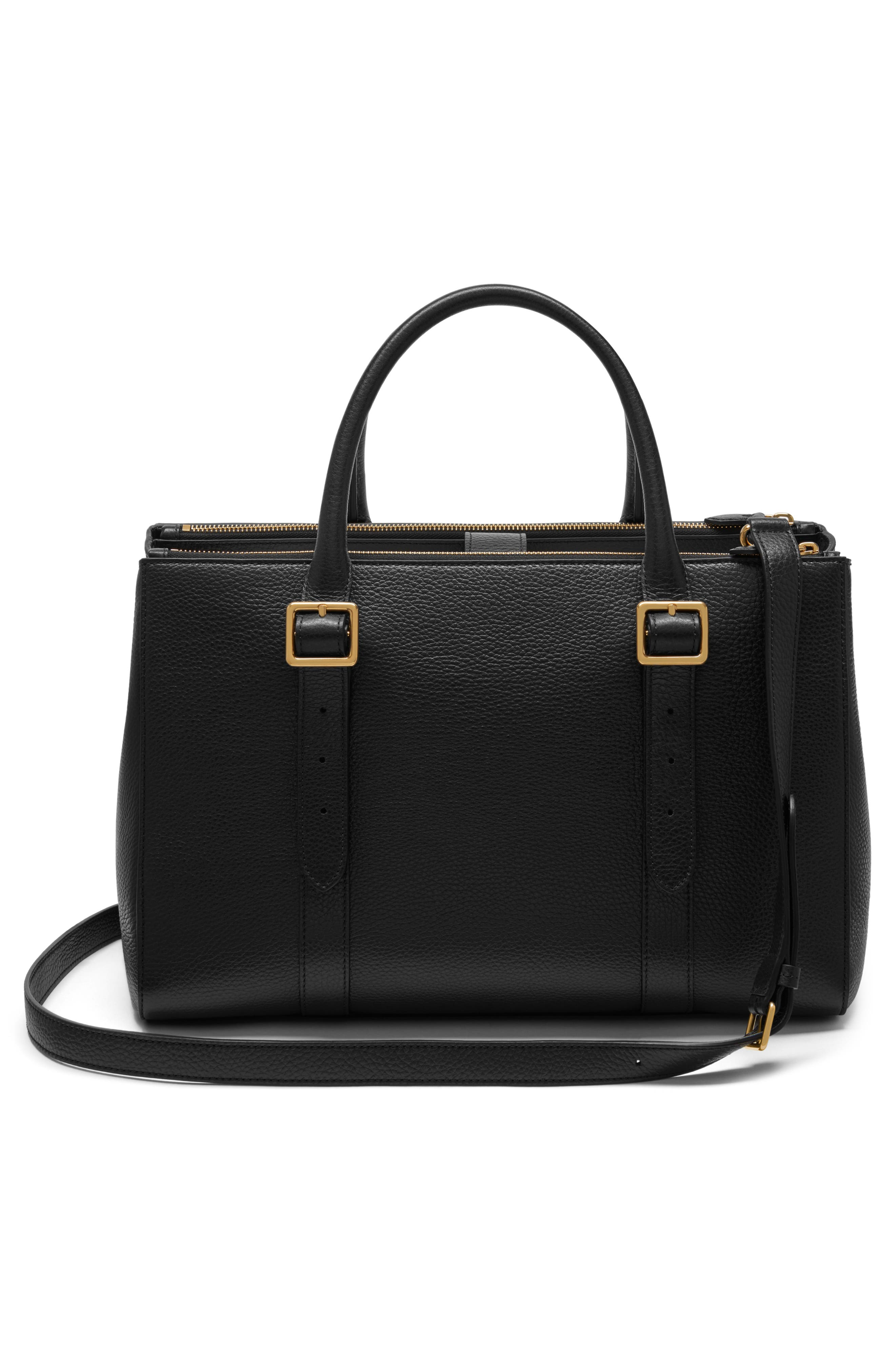 Bayswater Double Zip Leather Satchel,                             Alternate thumbnail 3, color,