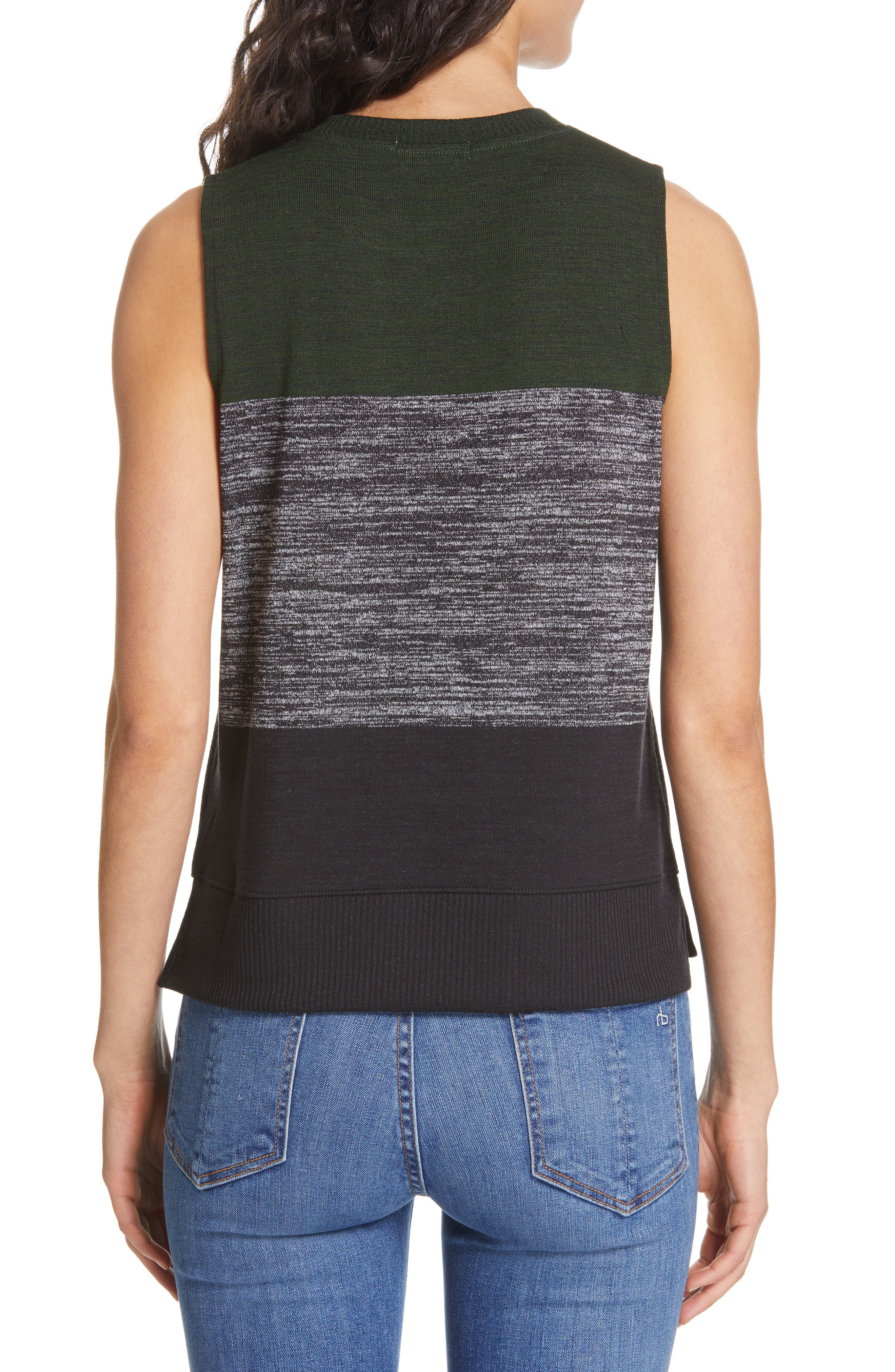 JEAN Bowery Colorblock Muscle Tank,                             Alternate thumbnail 2, color,                             EMERALD STRIPE