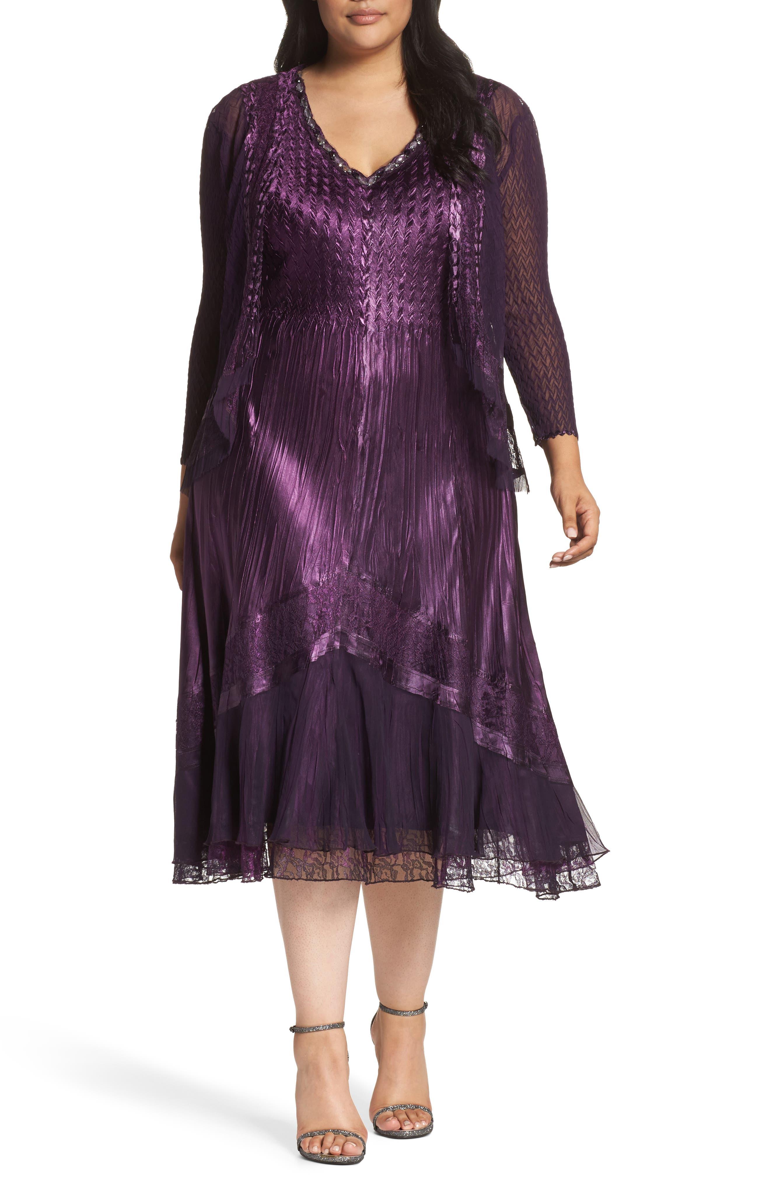 Mixed Media A-Line Dress & Jacket,                             Main thumbnail 1, color,                             507