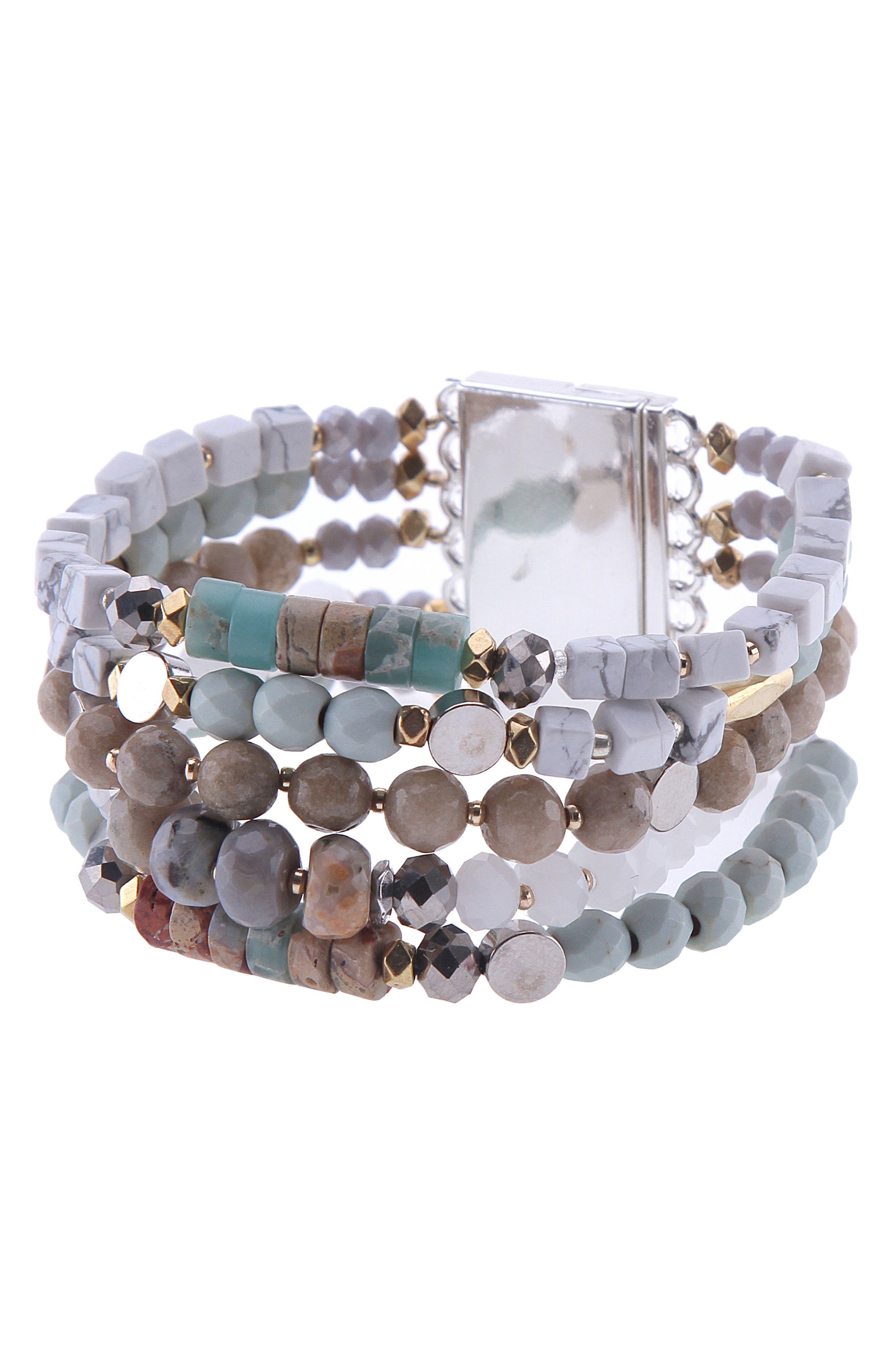 Amazonite, Agate & Crystal Multistrand Stretch Bracelet,                             Main thumbnail 1, color,