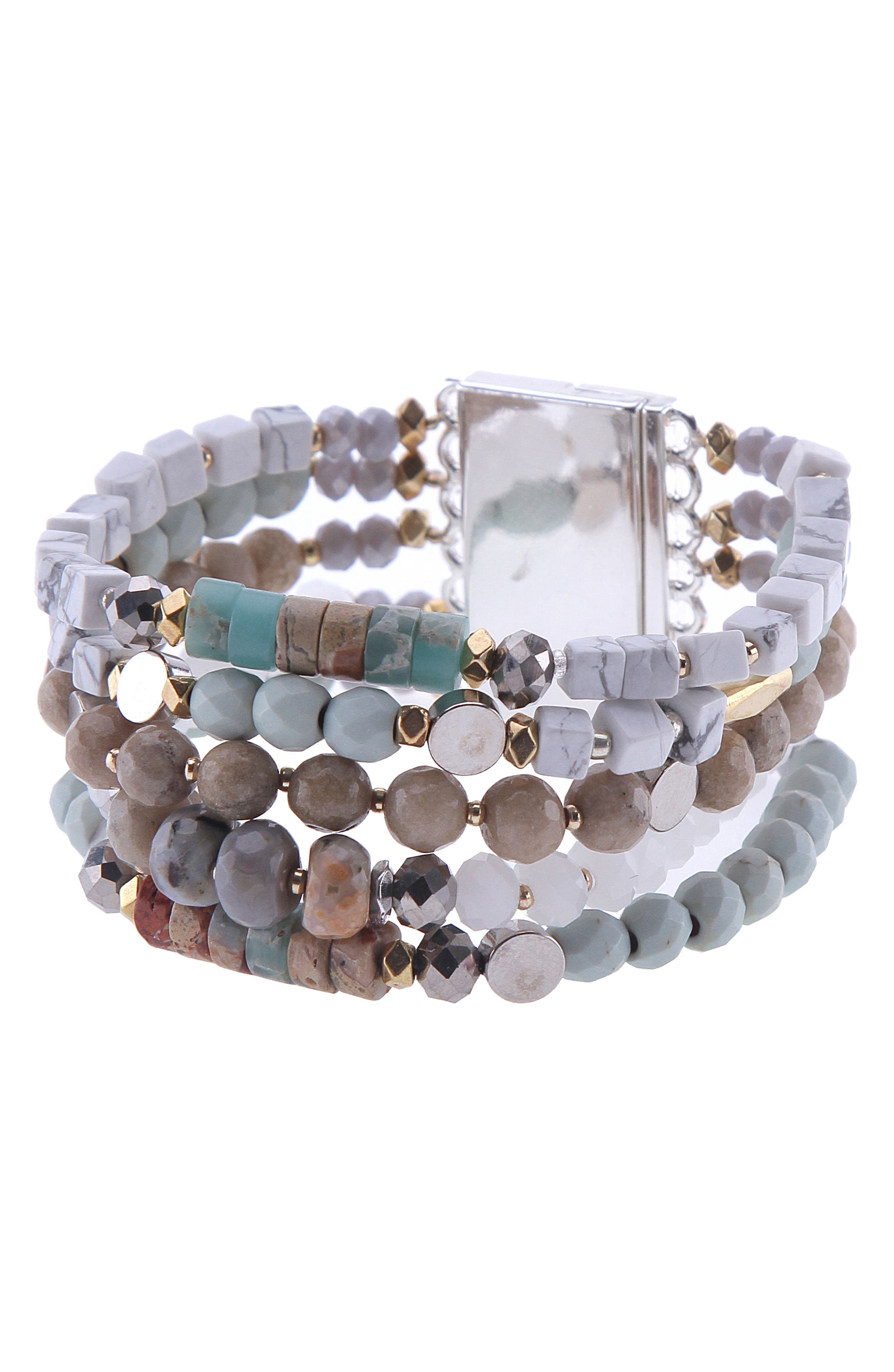 Amazonite, Agate & Crystal Multistrand Stretch Bracelet,                         Main,                         color,