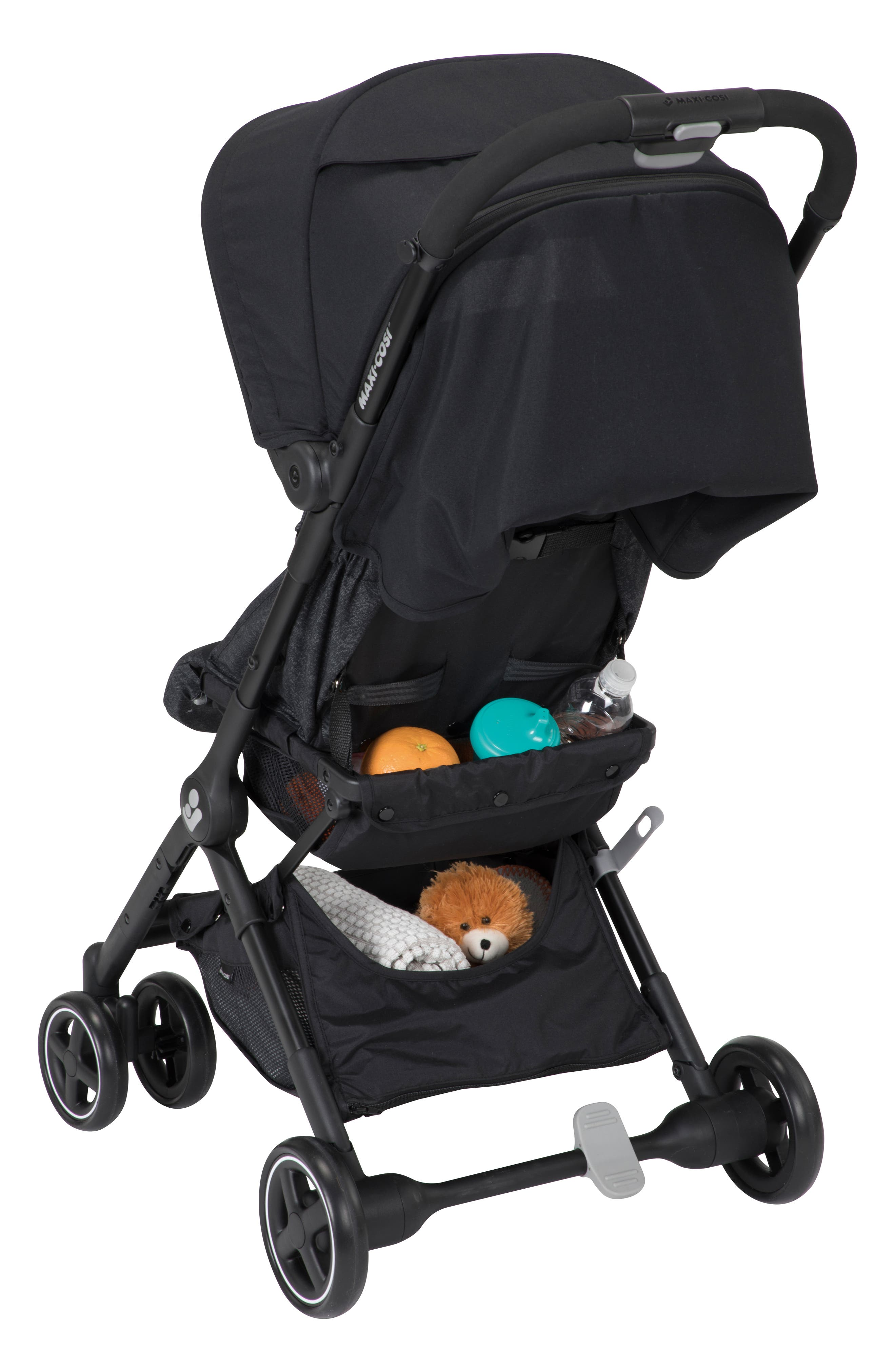 Lara Ultra Compact Stroller,                             Alternate thumbnail 4, color,                             NOMAD BLACK