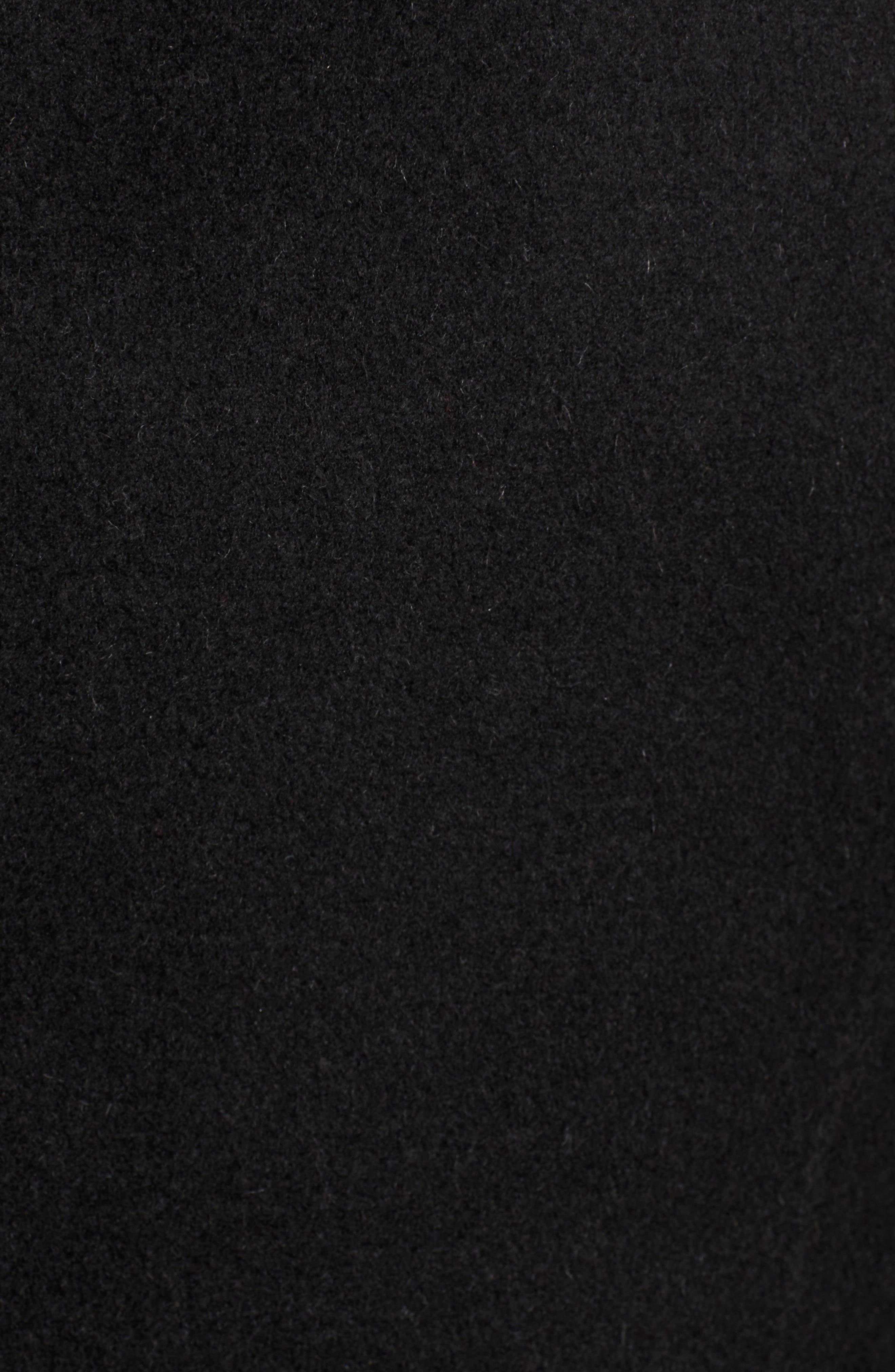 Vane Asymmetrical Leather Sleeve Coat,                             Alternate thumbnail 7, color,                             BLACK/ CHARCOAL