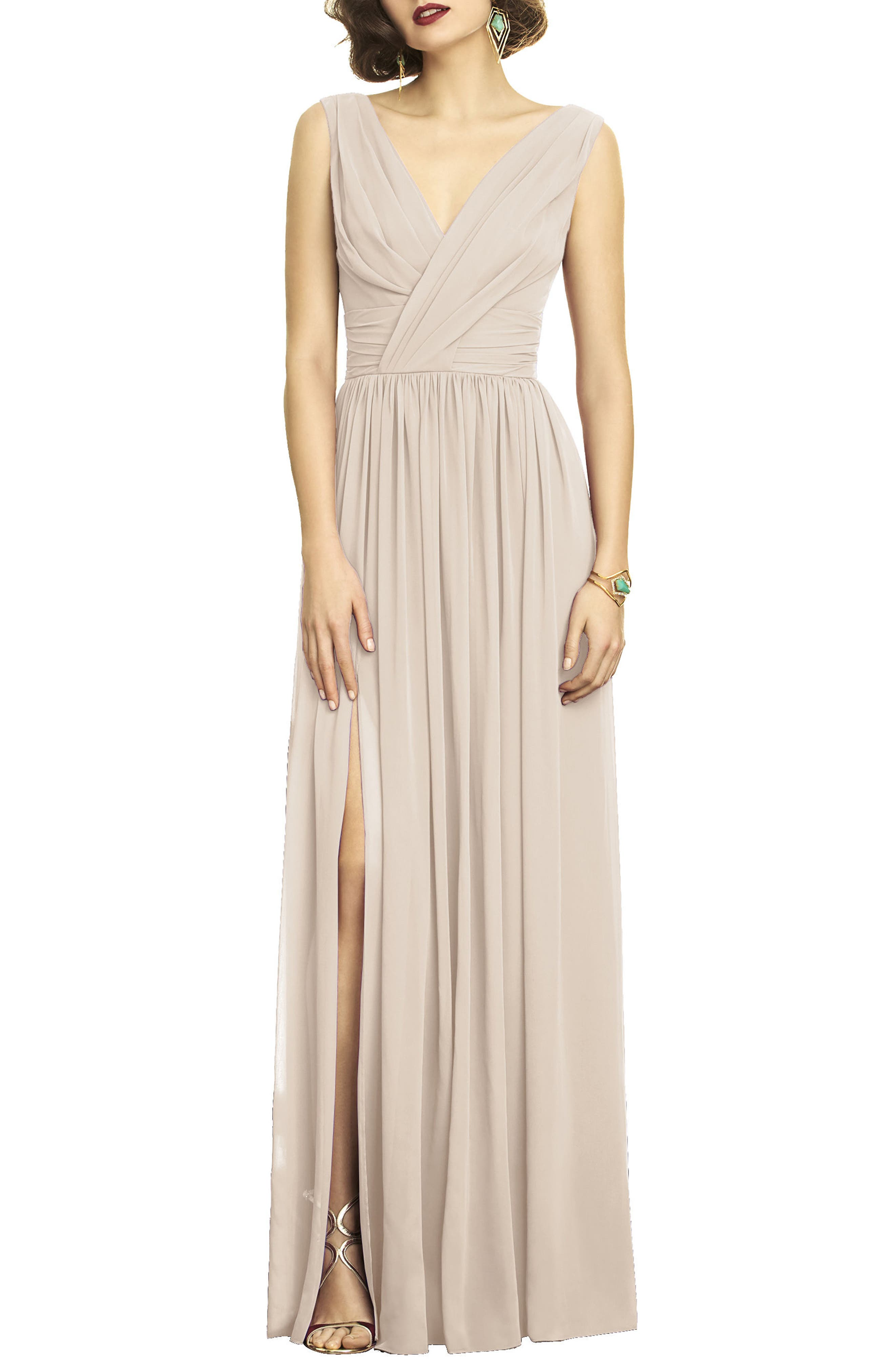 Dessy Collection Surplice Ruched Chiffon Gown, Beige