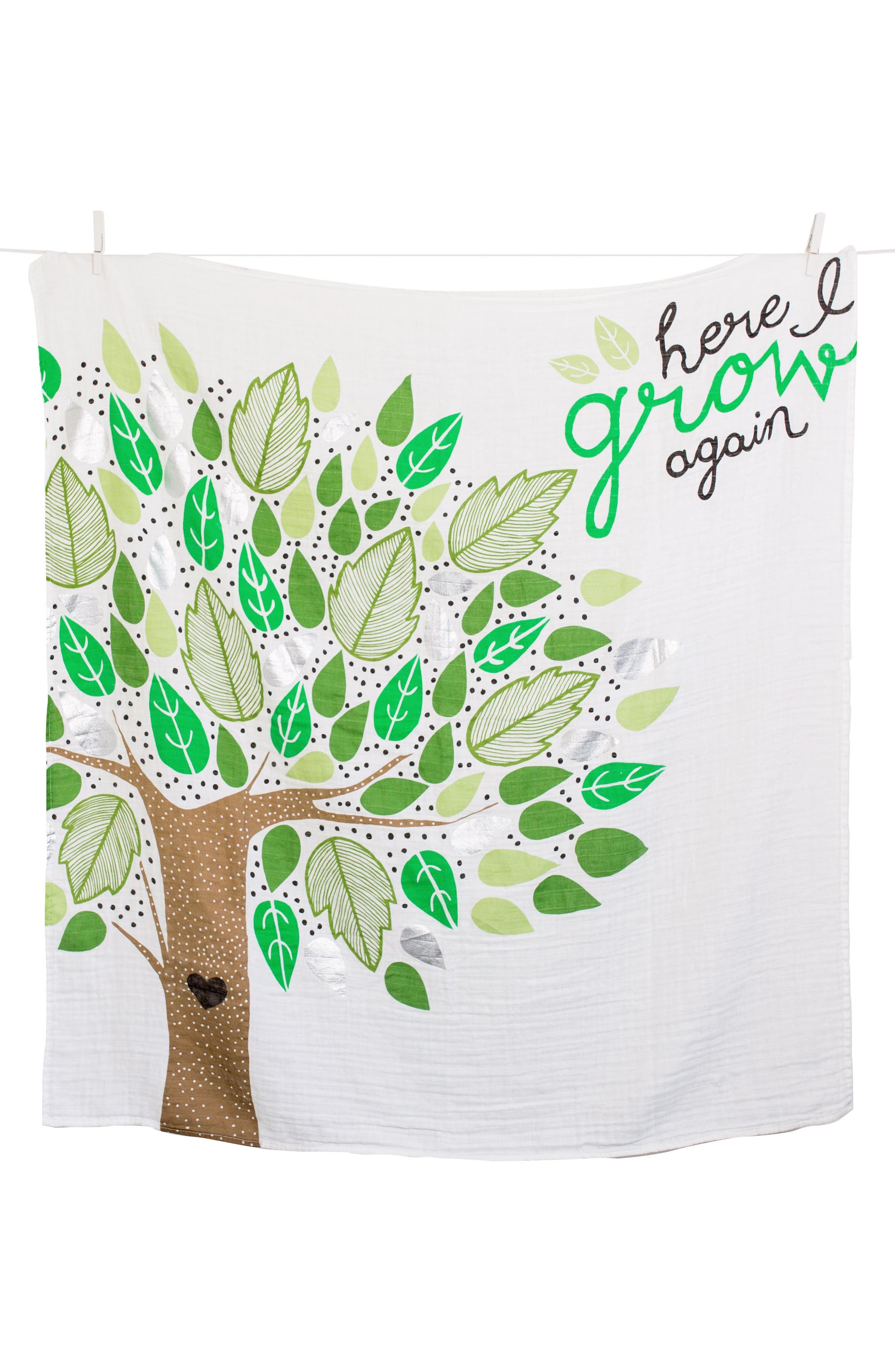 Baby's First Year - Here I Grow Again Muslin Blanket & Milestone Card Set,                             Alternate thumbnail 2, color,                             GREEN