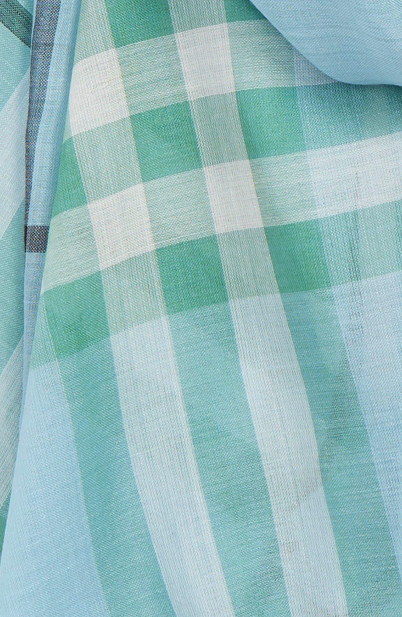 Giant Check Gauze Wool & Silk Scarf,                             Alternate thumbnail 4, color,                             PALE PERIDOT BLUE