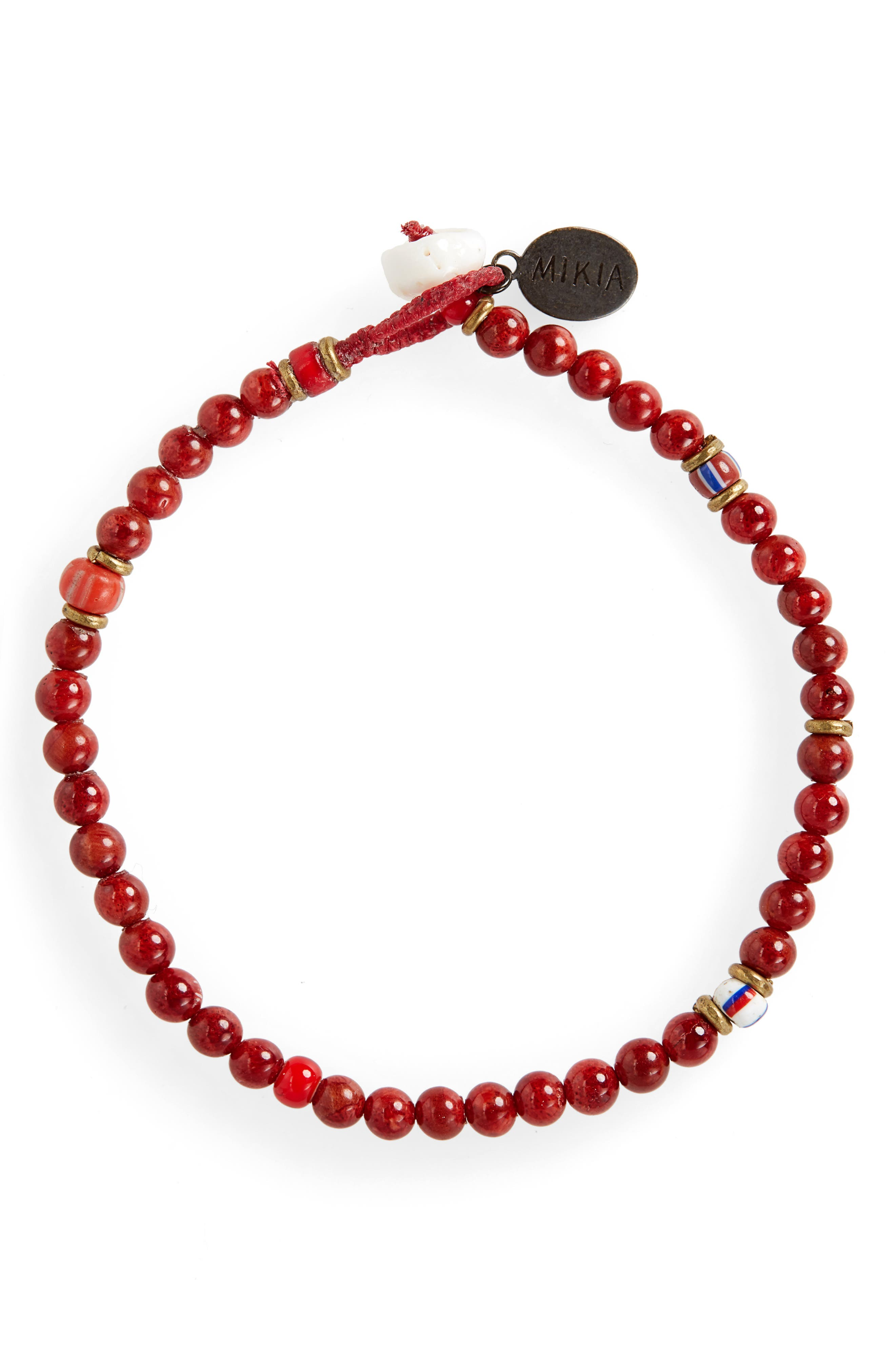 Coral Bead Bracelet,                             Main thumbnail 1, color,                             CORAL