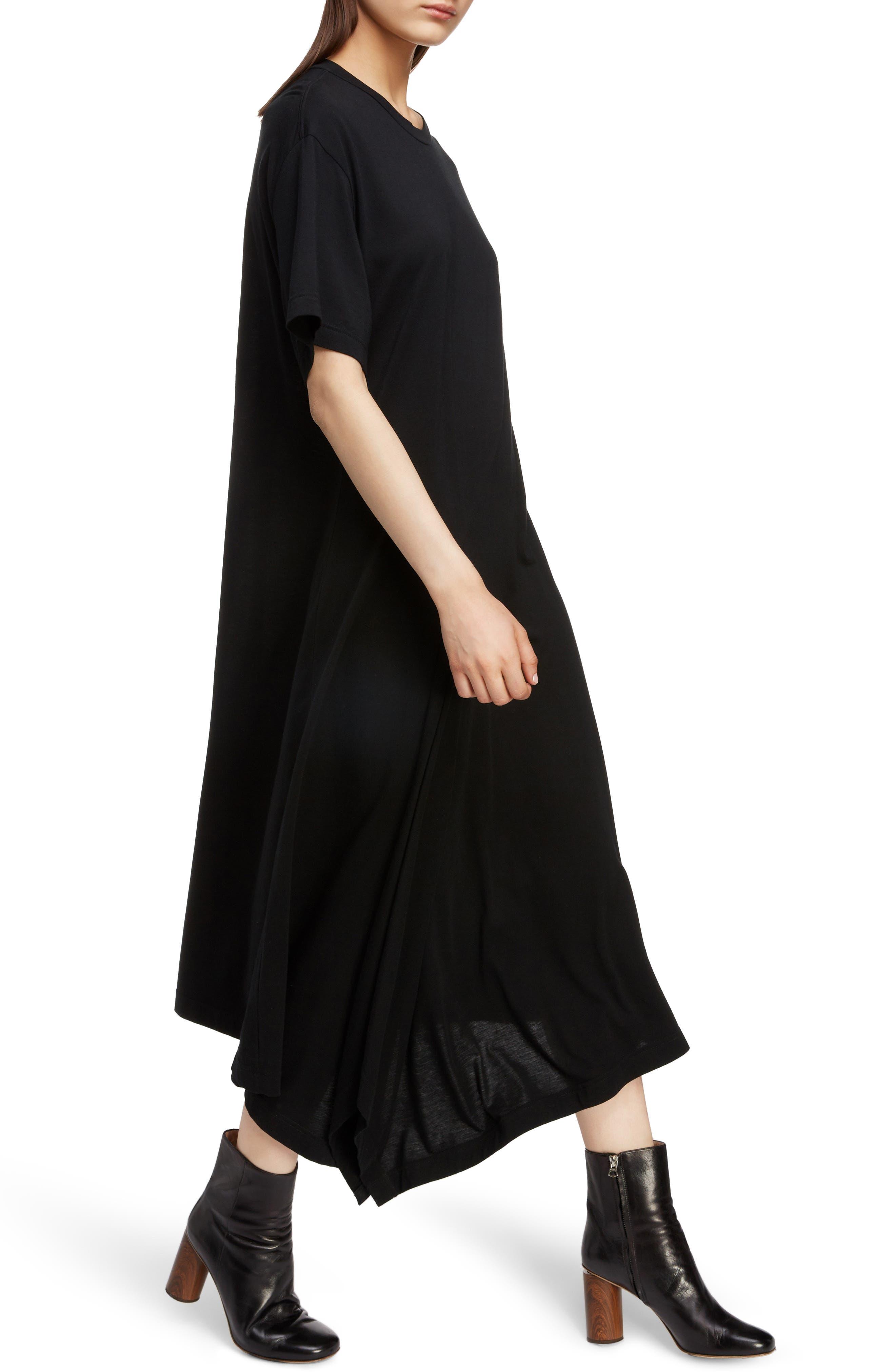 T-Shirt Dress,                             Alternate thumbnail 4, color,                             BLACK