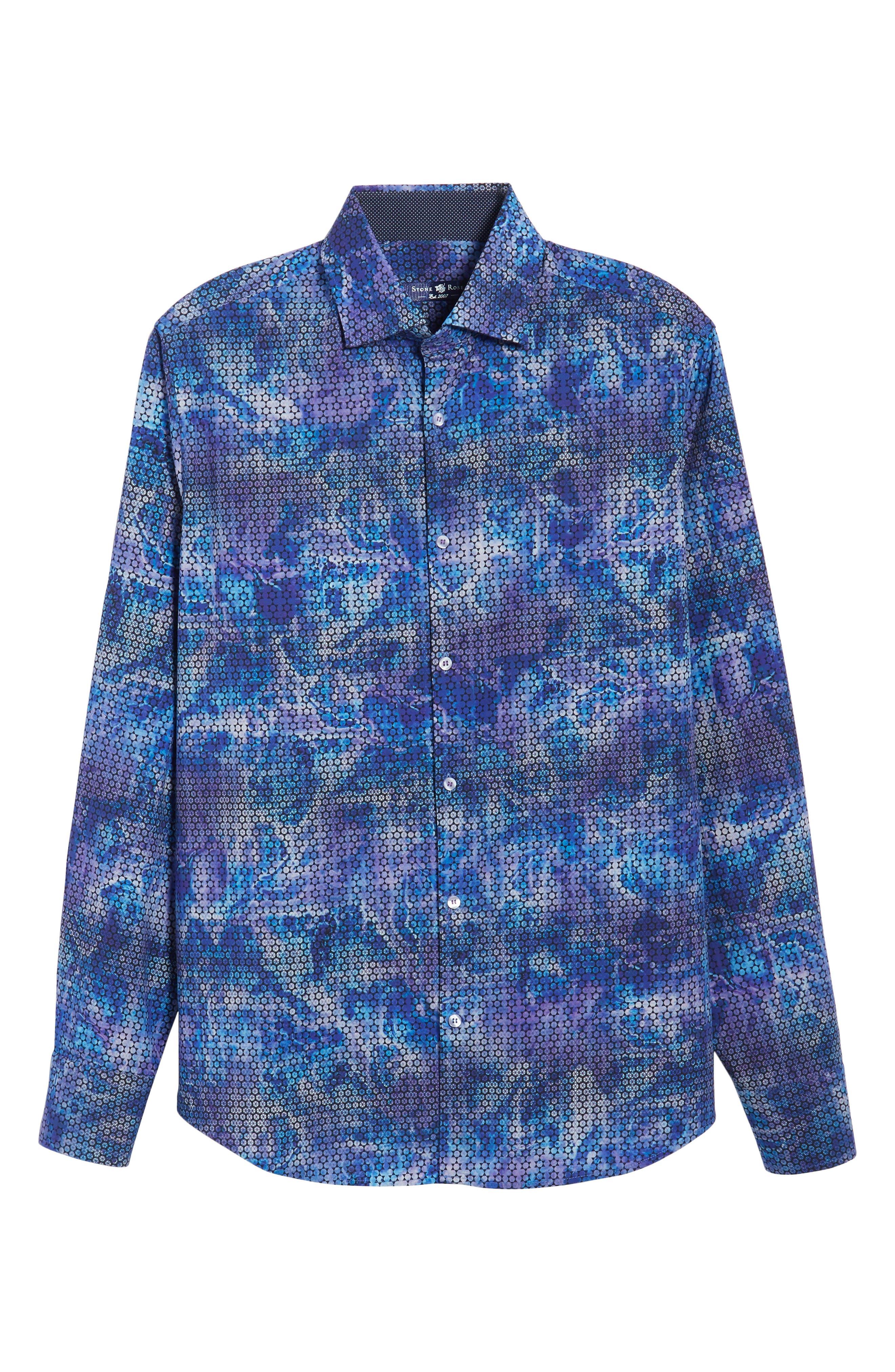 Slim Fit Geometric FX Print Sport Shirt,                             Alternate thumbnail 6, color,                             PURPLE