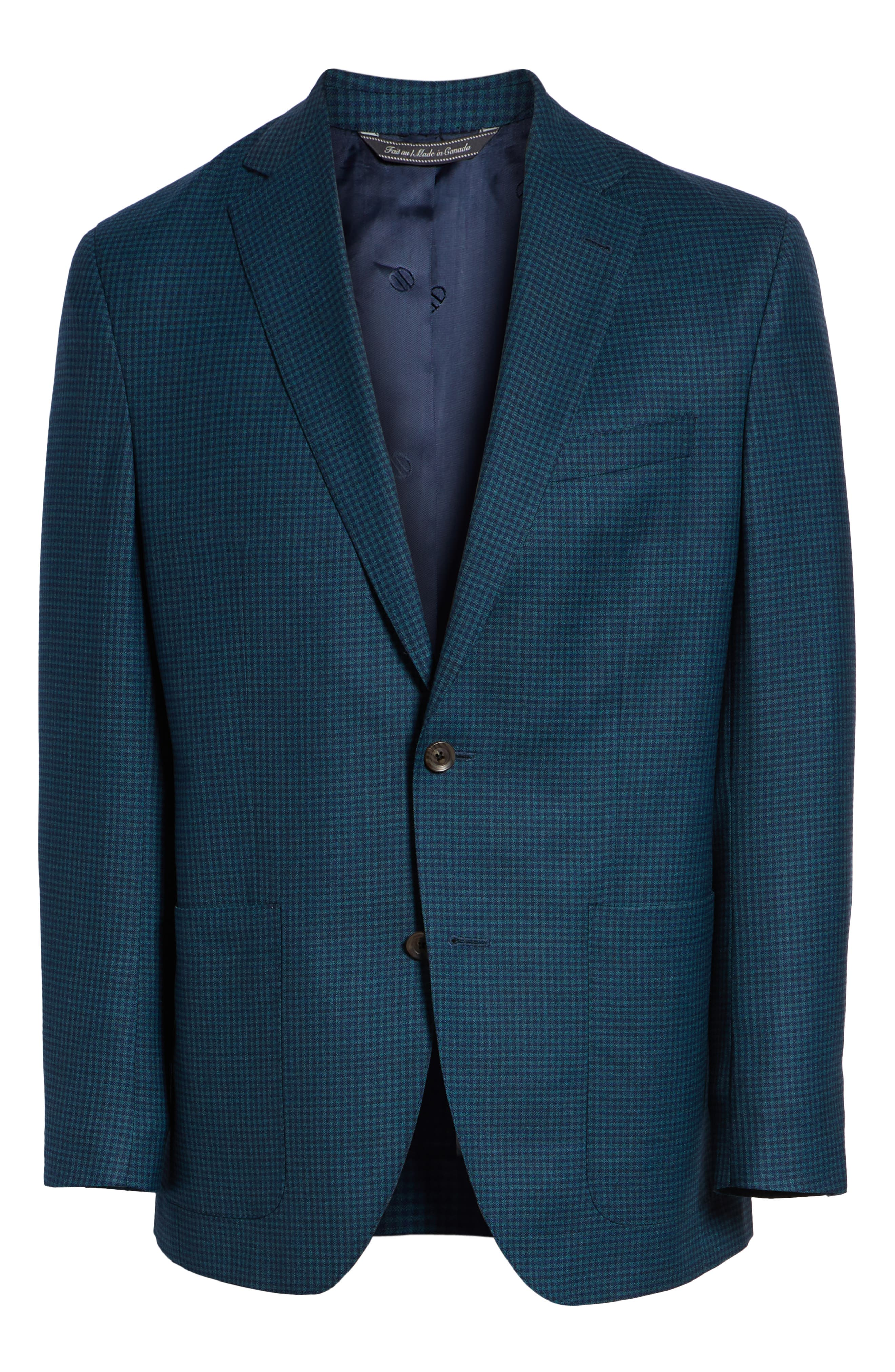 Aiden Classic Fit Check Wool Sport Coat,                             Alternate thumbnail 5, color,                             GREEN