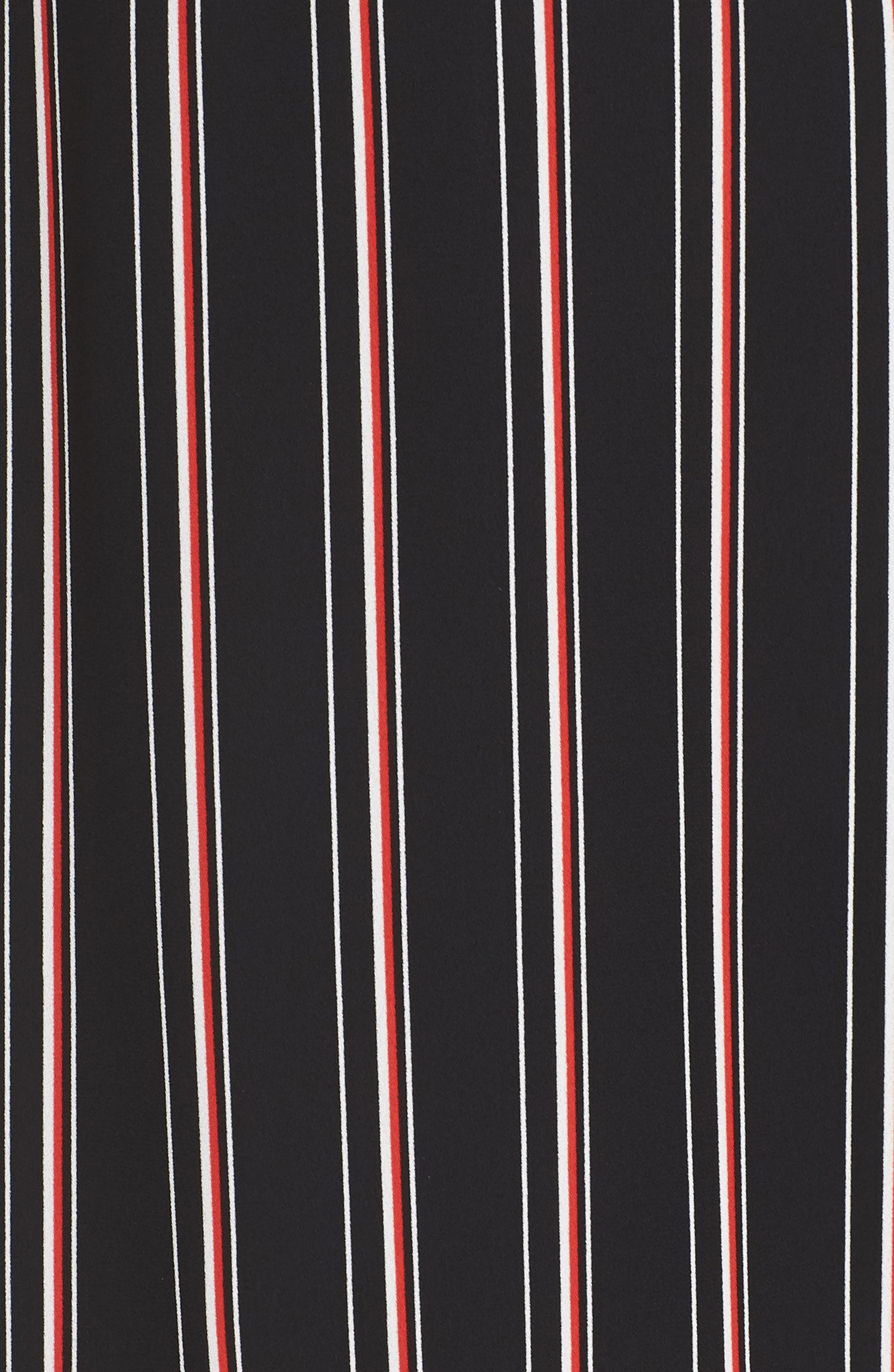 Mix Stripe Midi Dress,                             Alternate thumbnail 5, color,                             BLACK STRIPE MIX COMBO