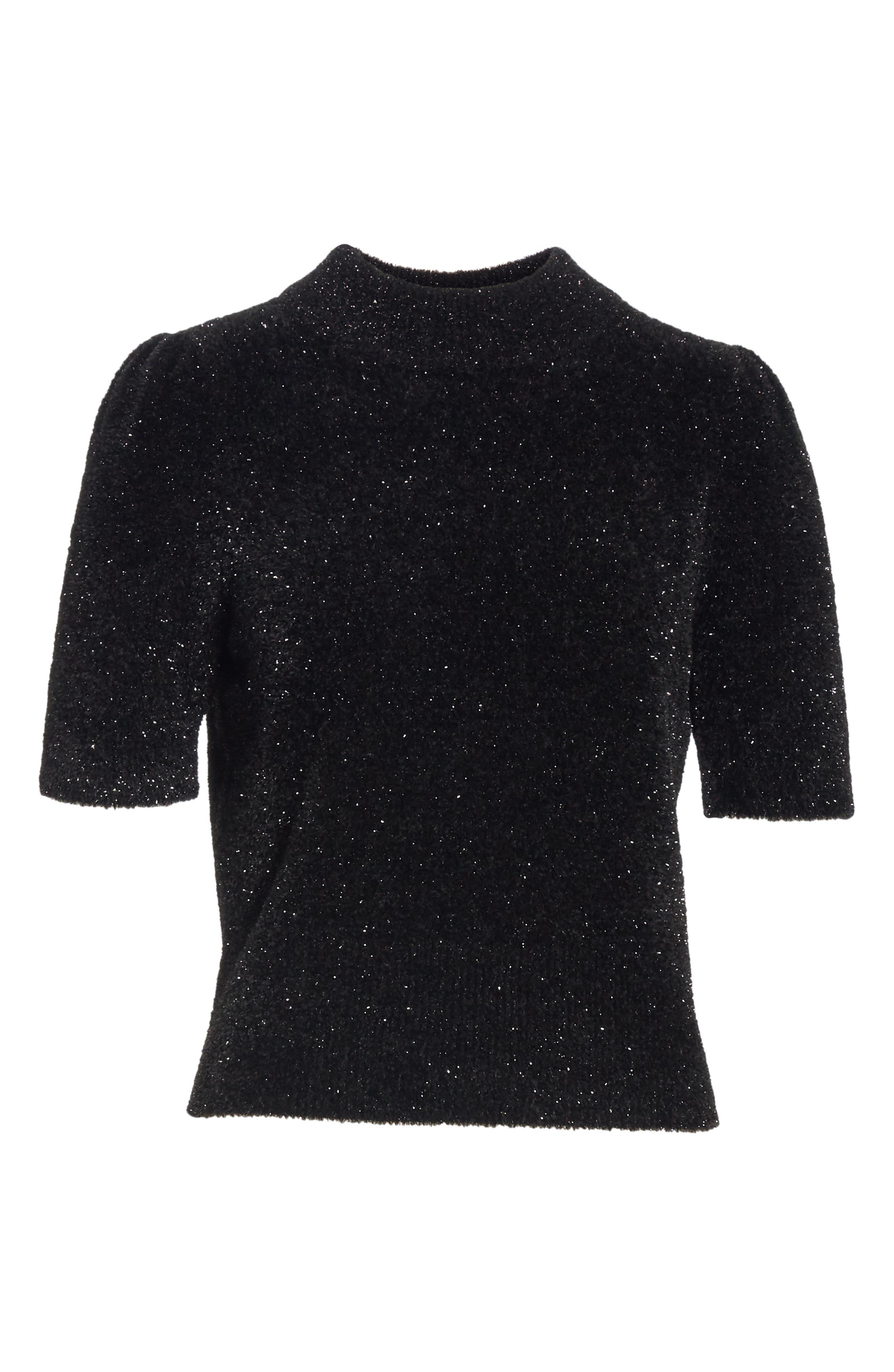 metallic fuzzy sweater,                             Alternate thumbnail 6, color,                             BLACK