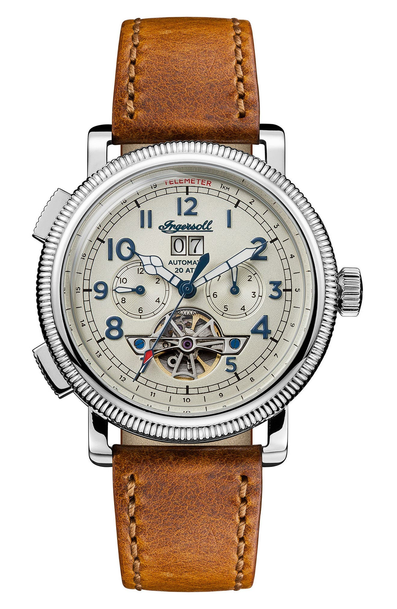 Ingersoll Bloch Open Heart Automatic Multifunction Leather Strap Watch, 45mm,                             Main thumbnail 2, color,