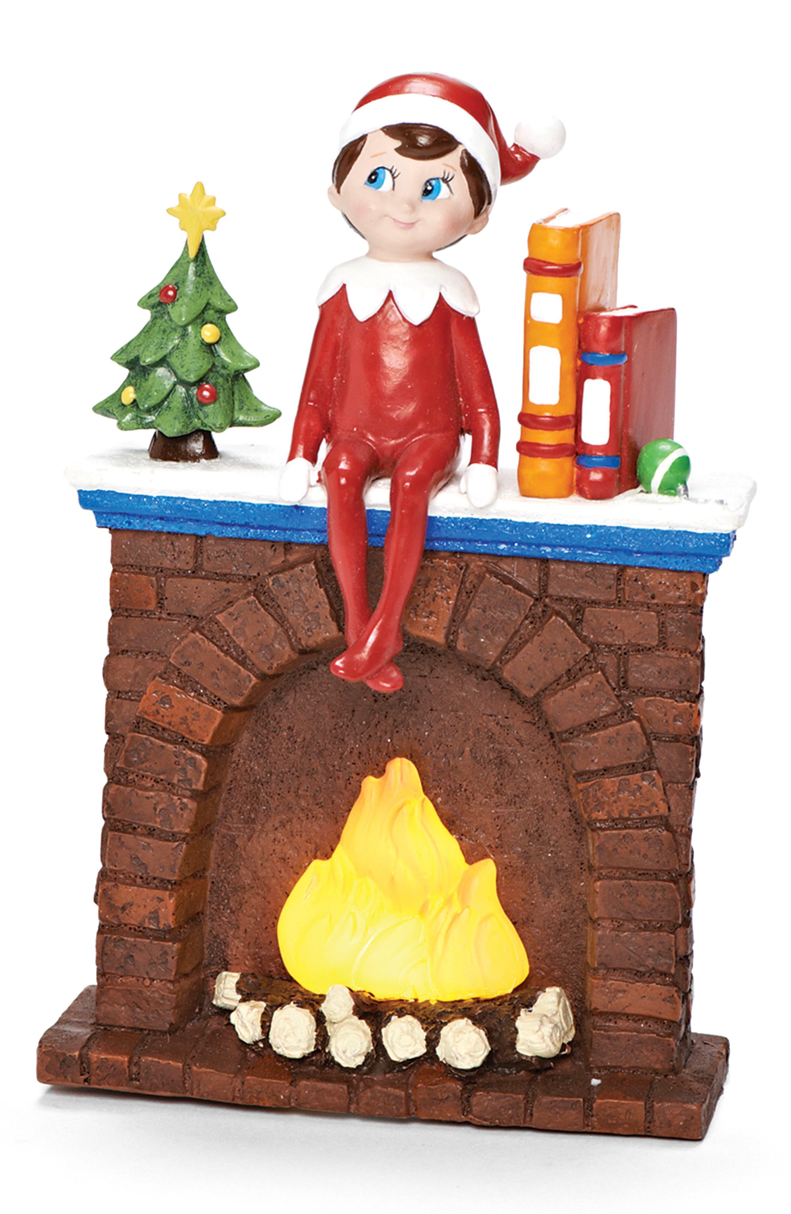Elf on Fireplace LED Night Light,                             Main thumbnail 1, color,