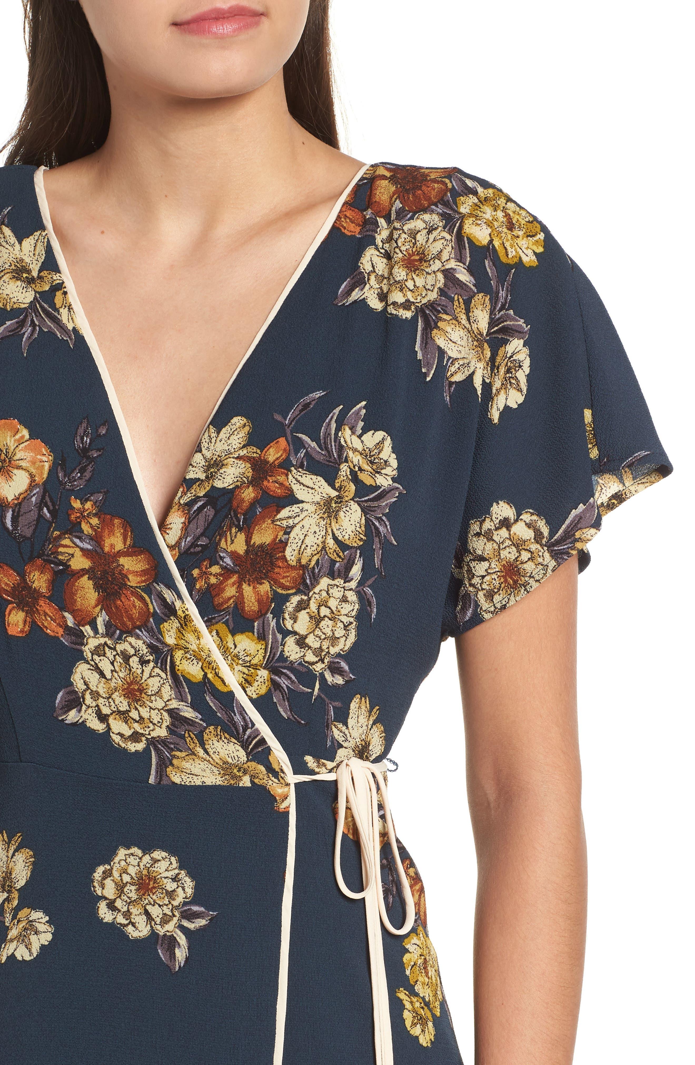 LEITH,                             Floral Wrap Dress,                             Alternate thumbnail 4, color,                             410