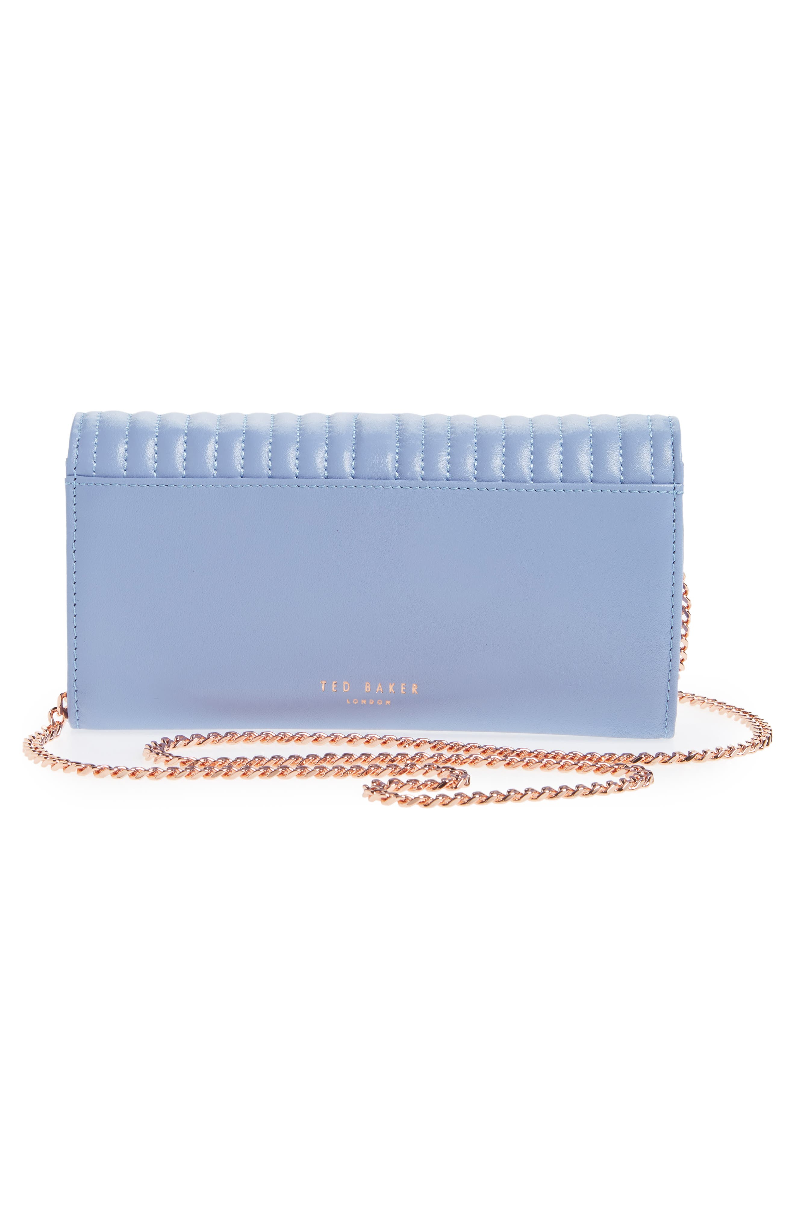 Quilted Bow Leather Matinée Wallet,                             Alternate thumbnail 3, color,                             BLUE