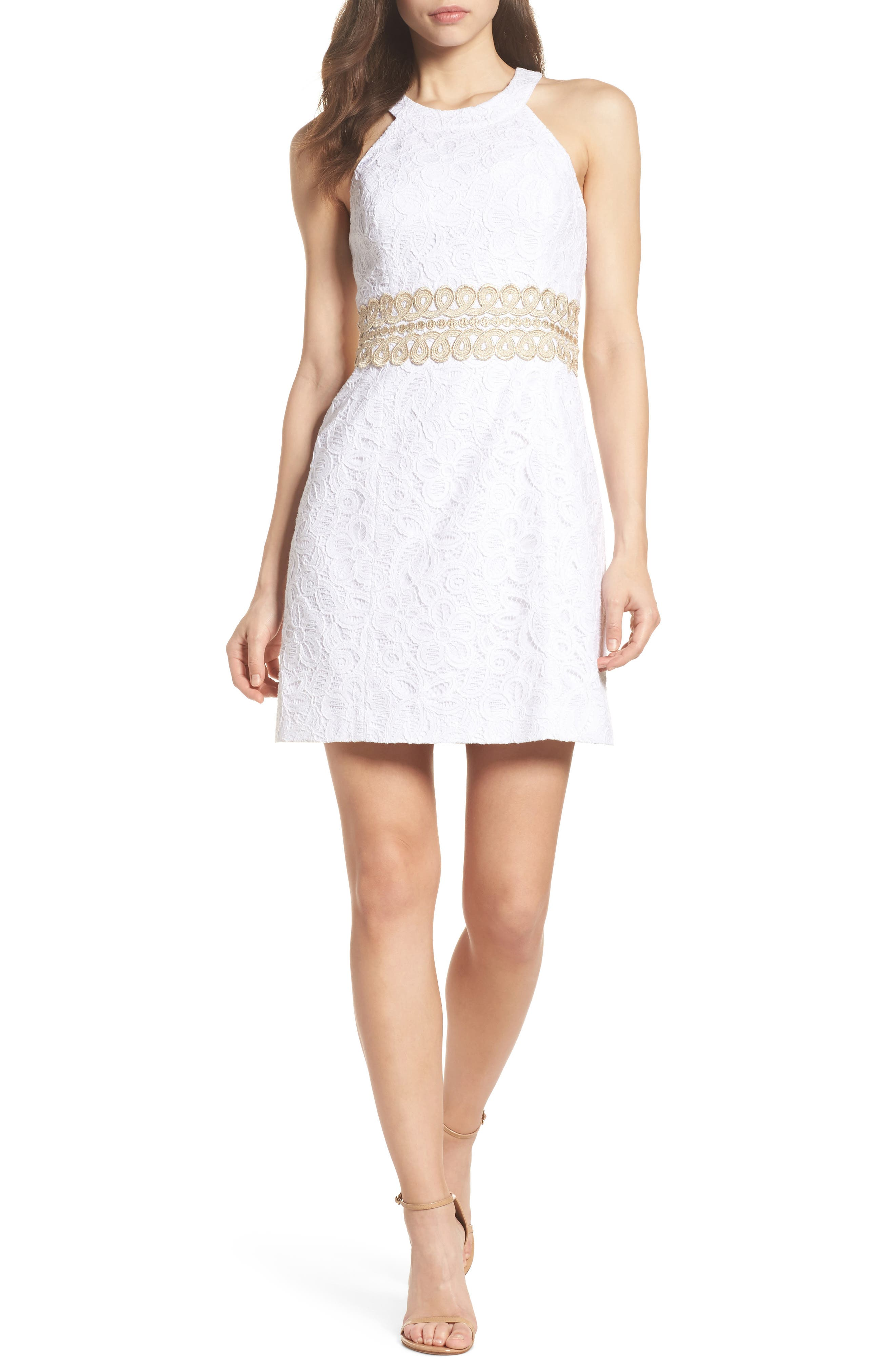 Ashlyn Lace Dress,                             Alternate thumbnail 5, color,                             RESORT WHITE POP FLORAL LACE