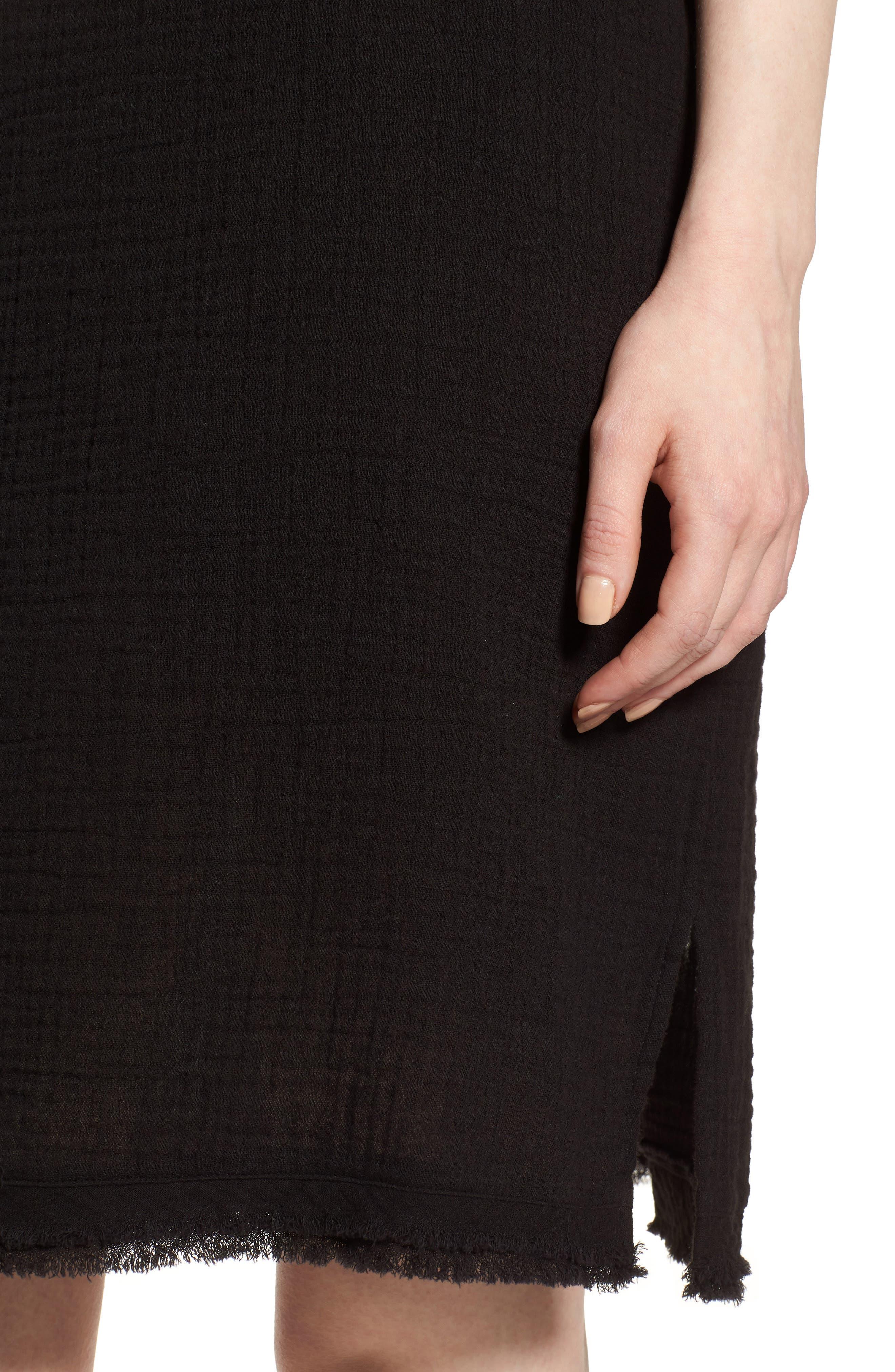 Organic Cotton Shift Dress,                             Alternate thumbnail 4, color,                             001