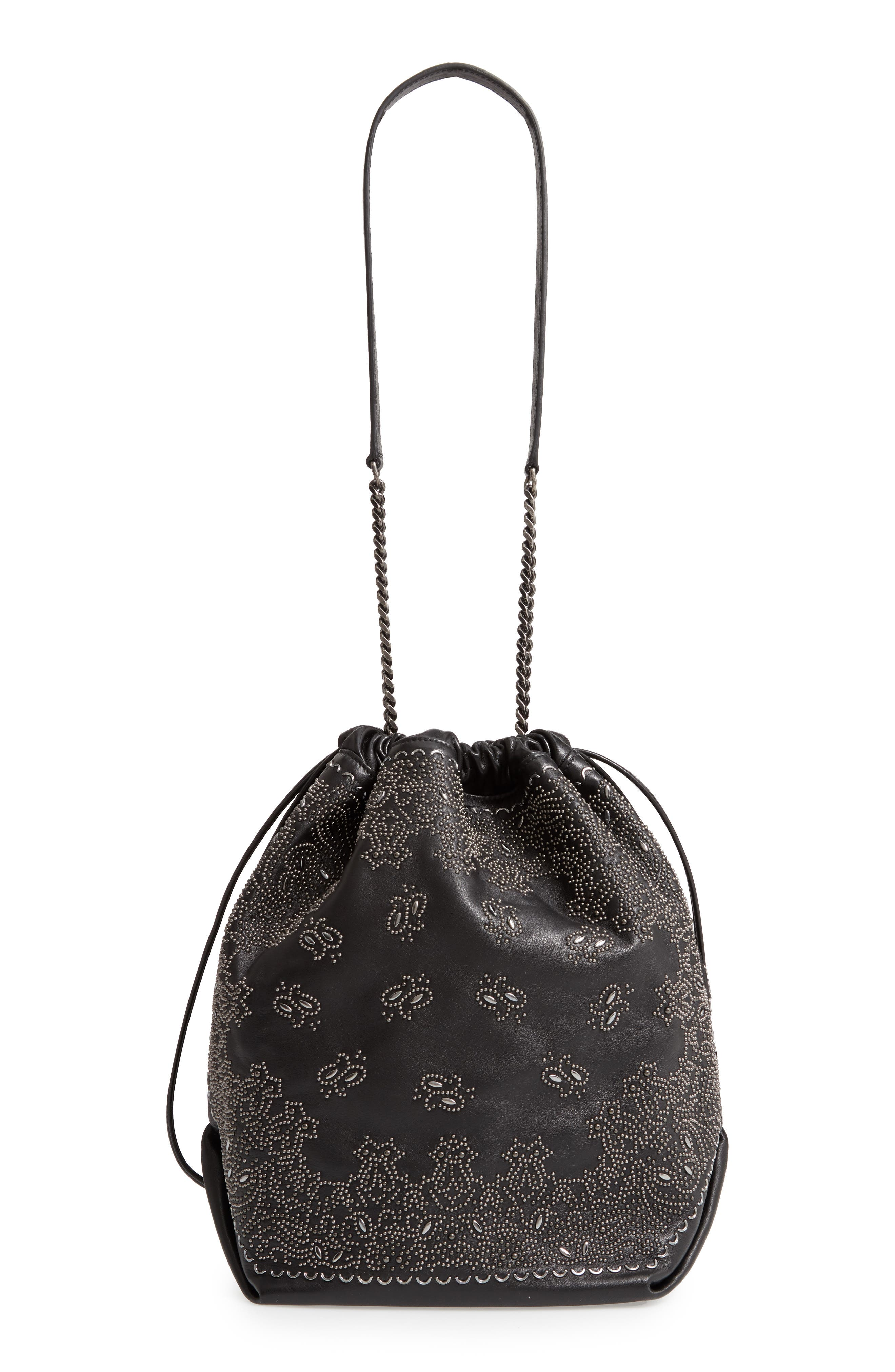 Teddy Bandana Studded Leather Bucket Bag,                             Alternate thumbnail 3, color,                             NOIR