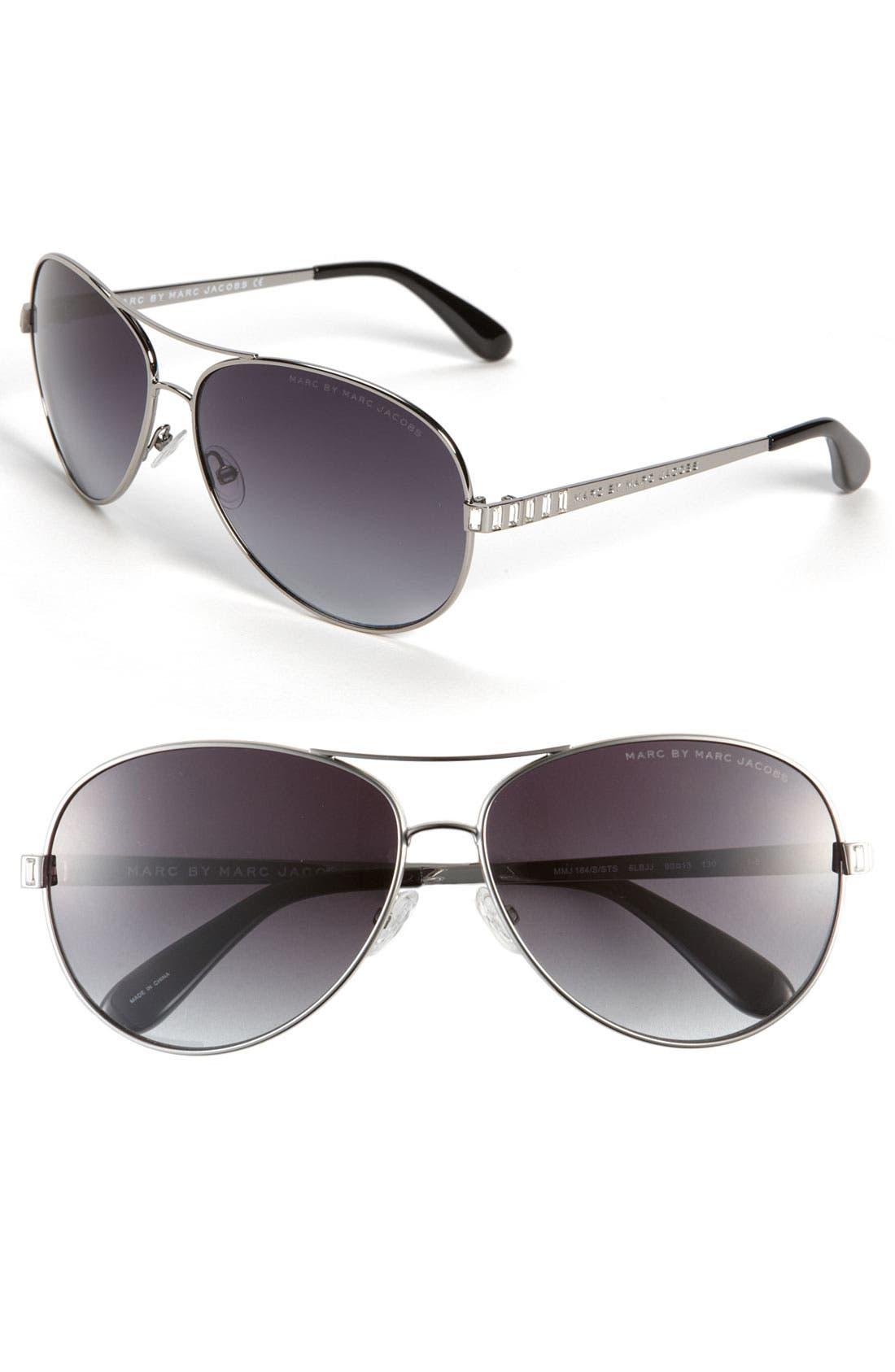 60mm Aviator Sunglasses,                             Main thumbnail 1, color,                             020