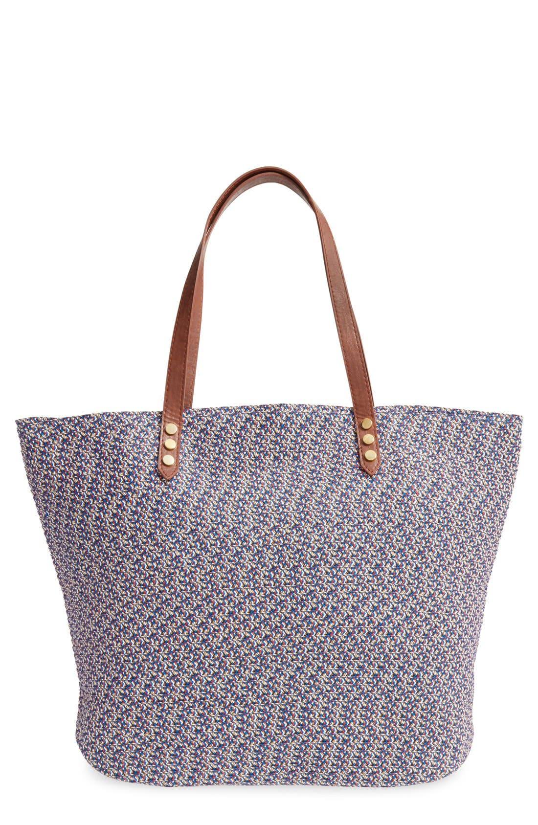 Woven Straw Tote,                             Main thumbnail 1, color,                             440