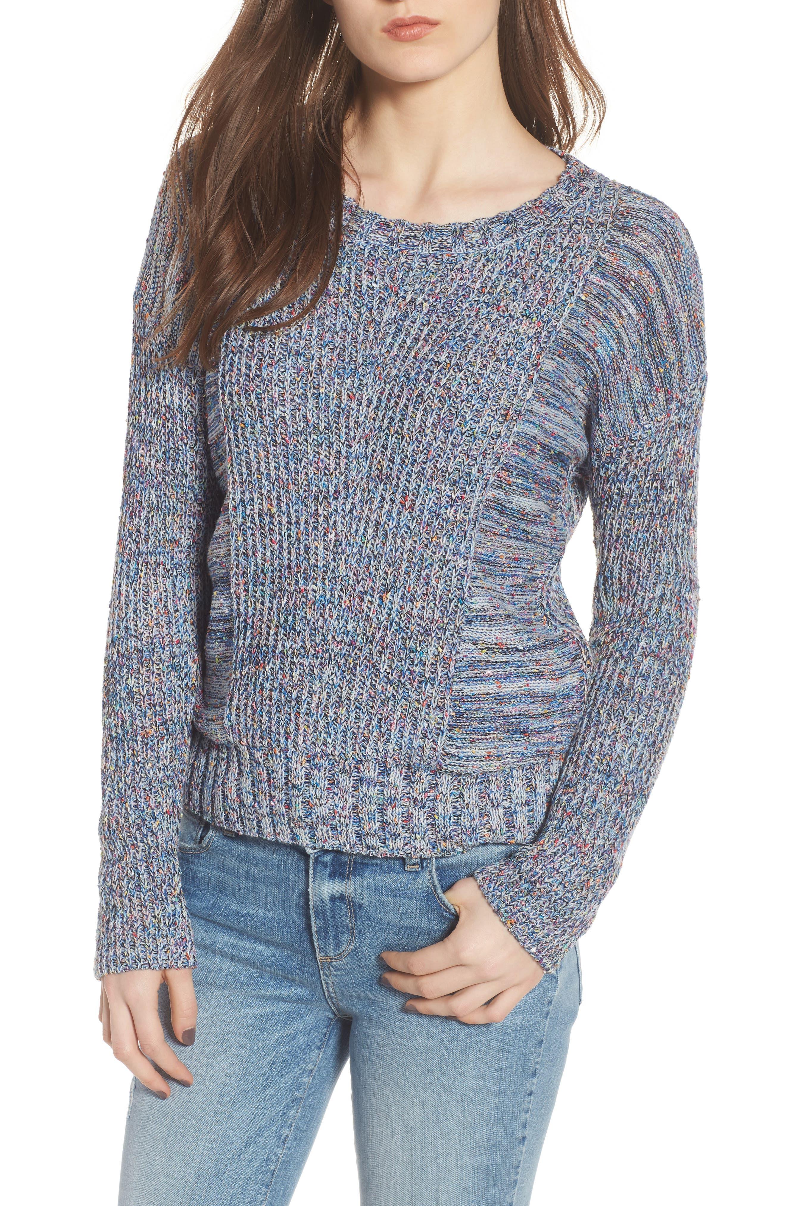Elsa Sweater,                         Main,                         color, SPECKLED BLUE