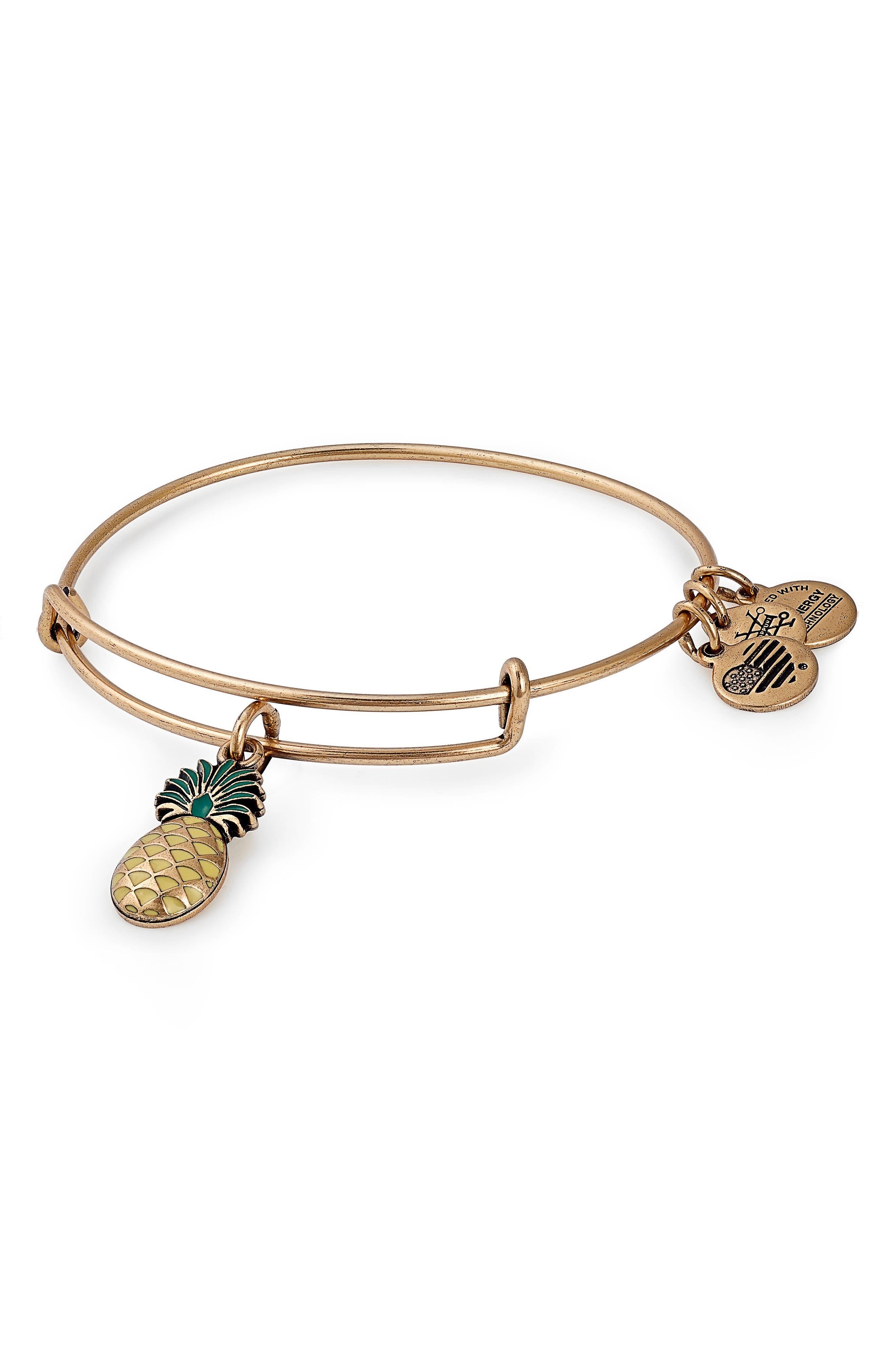 Pineapple Color Infusion Expandable Charm Bracelet,                         Main,                         color, GOLD