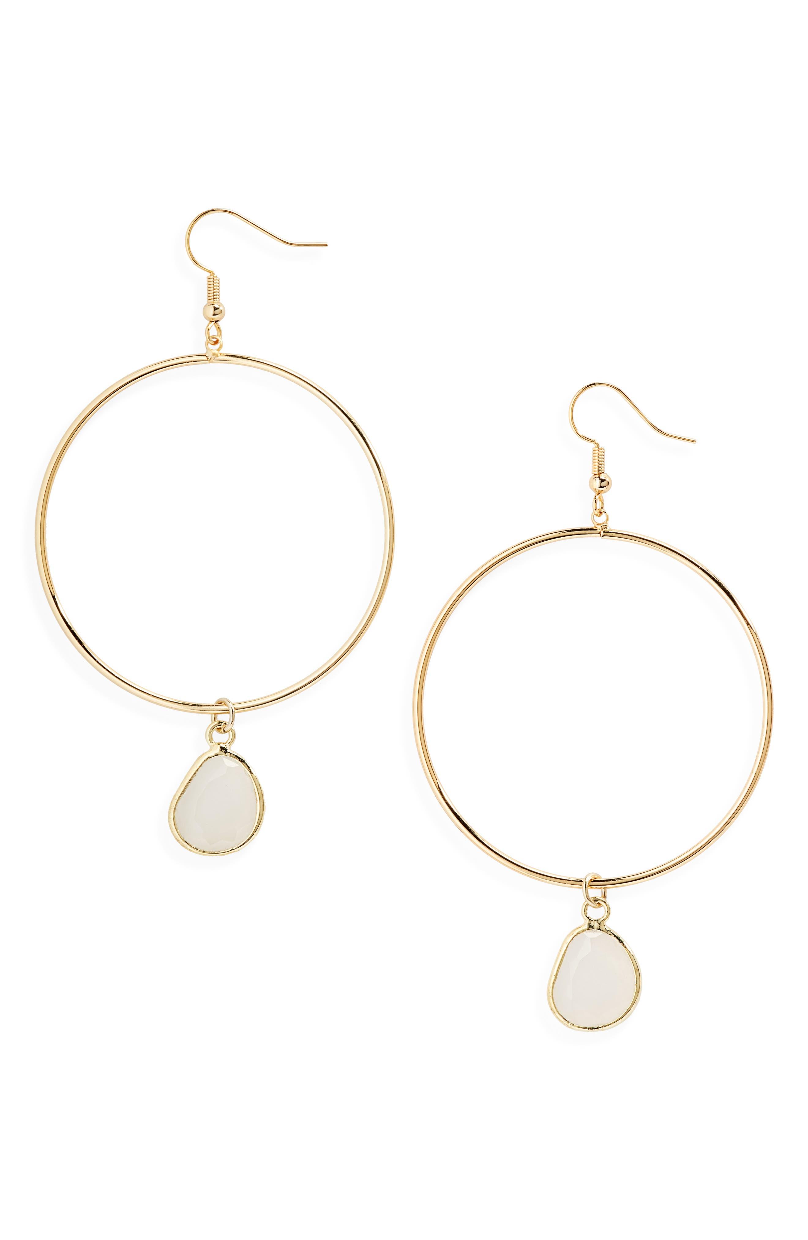 ELISE M. Ryleigh Crystal Pendant Hoop Earrings in Gold/ White