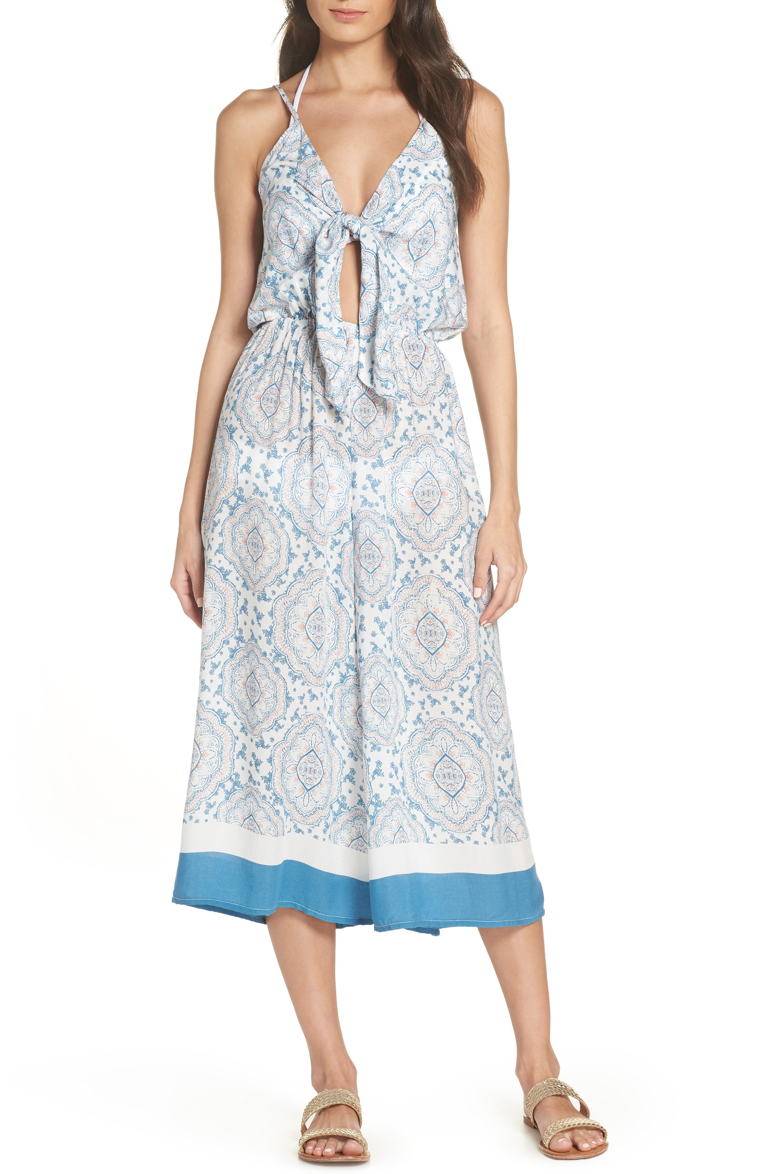 Tie Front Cover-Up Gaucho Jumpsuit,                             Main thumbnail 1, color,                             BLUE/ CORAL CANDY