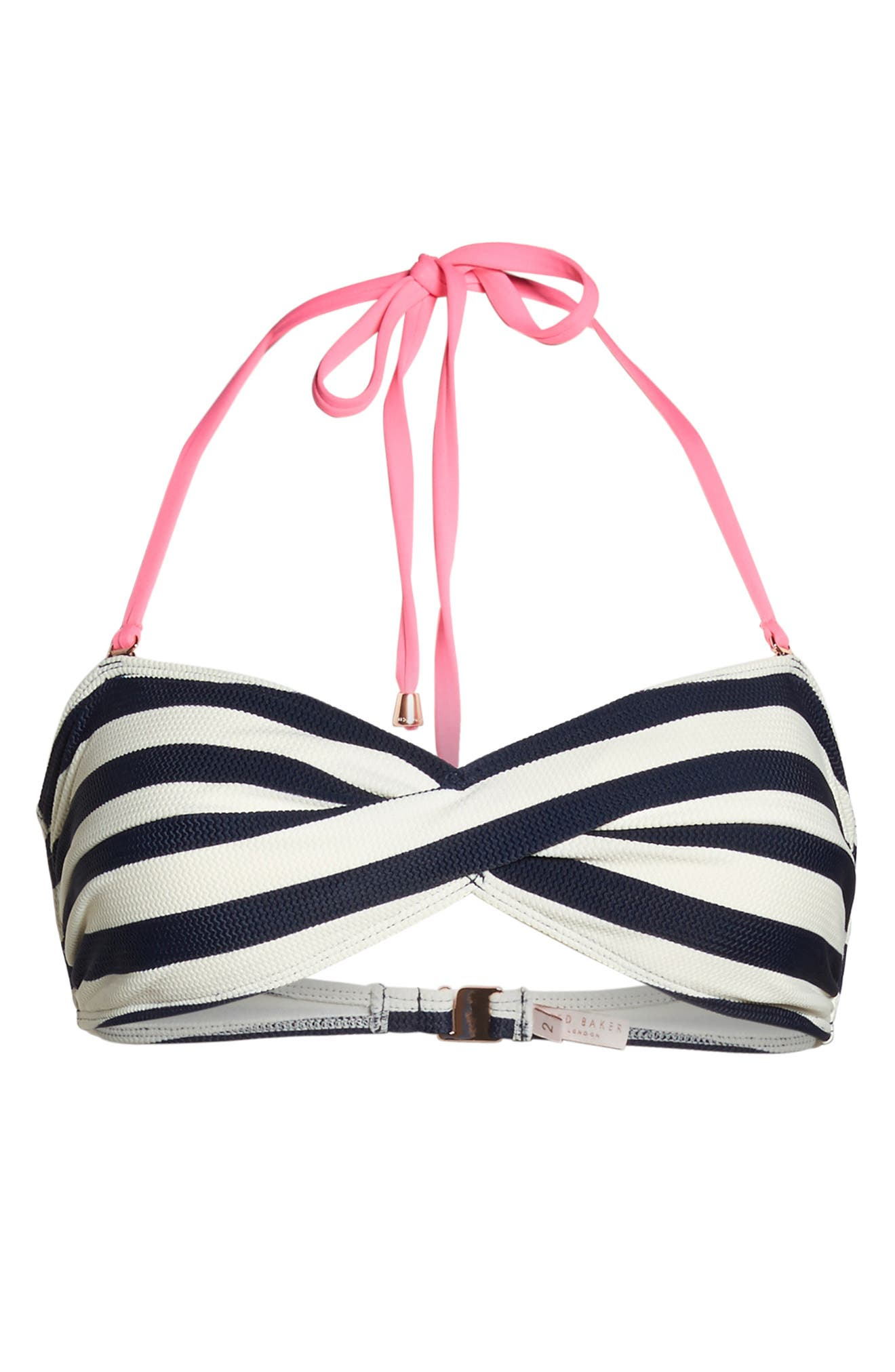 Texture Stripe Bandeau Bikini Top,                             Alternate thumbnail 5, color,