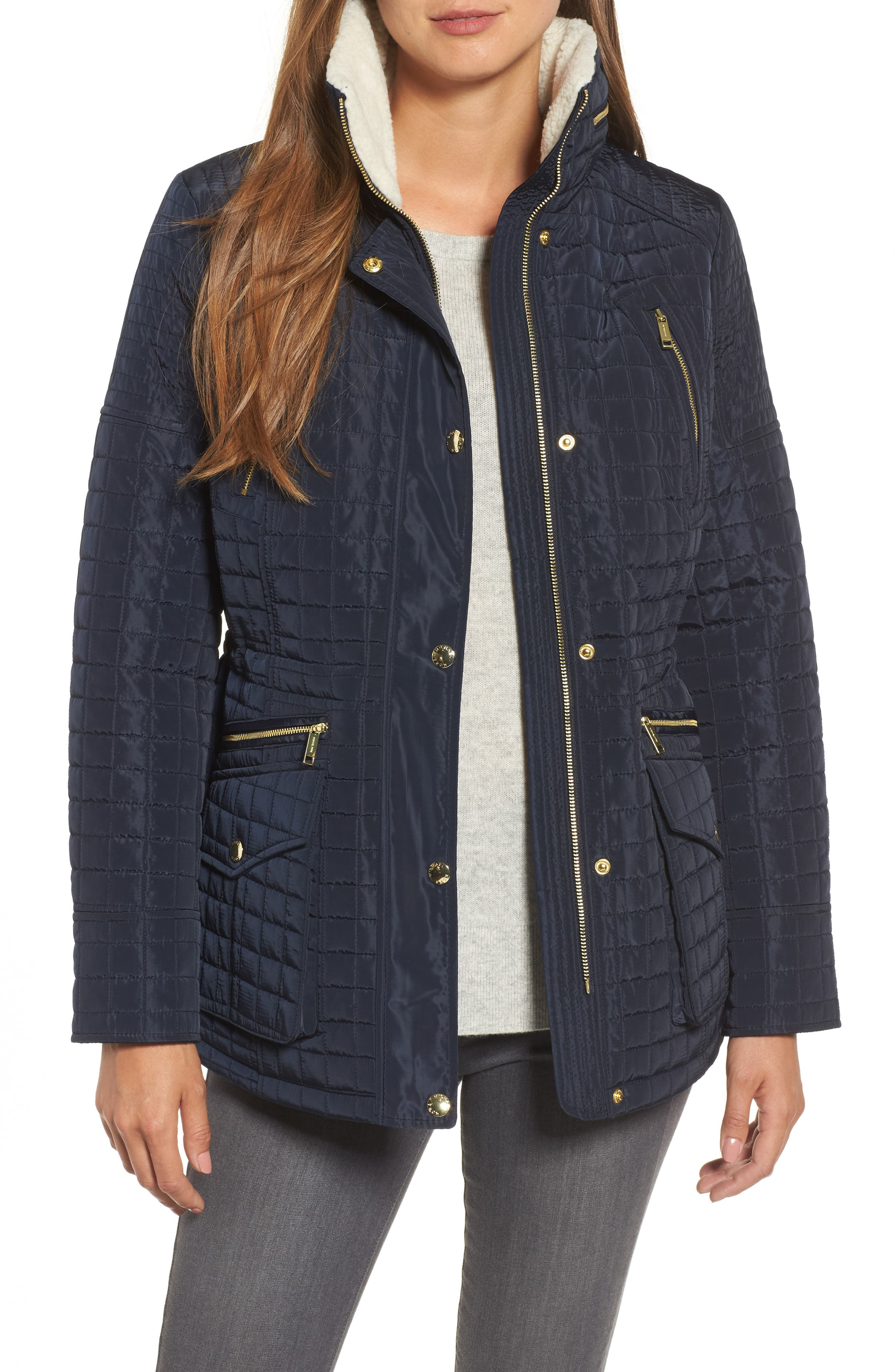 Water Resistant Quilted Anorak with Faux Shearling Trim,                             Main thumbnail 2, color,