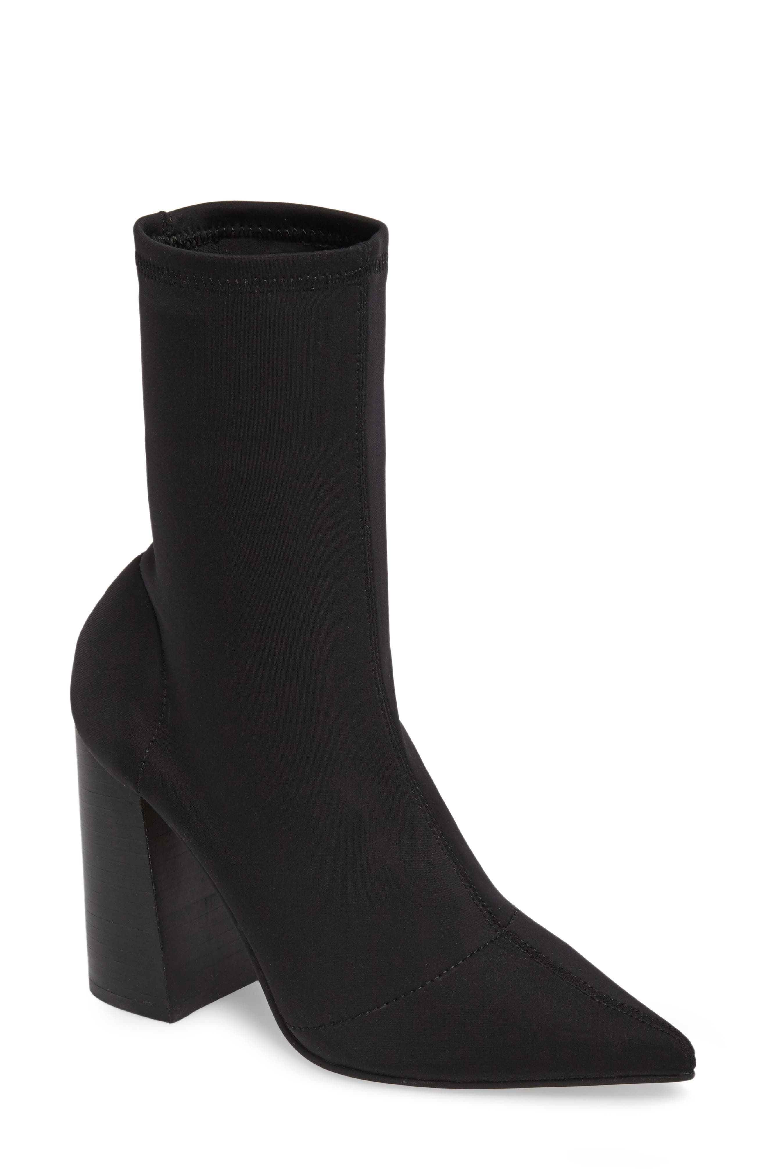 Lombard Pointy Toe Sock Bootie,                             Main thumbnail 1, color,                             001