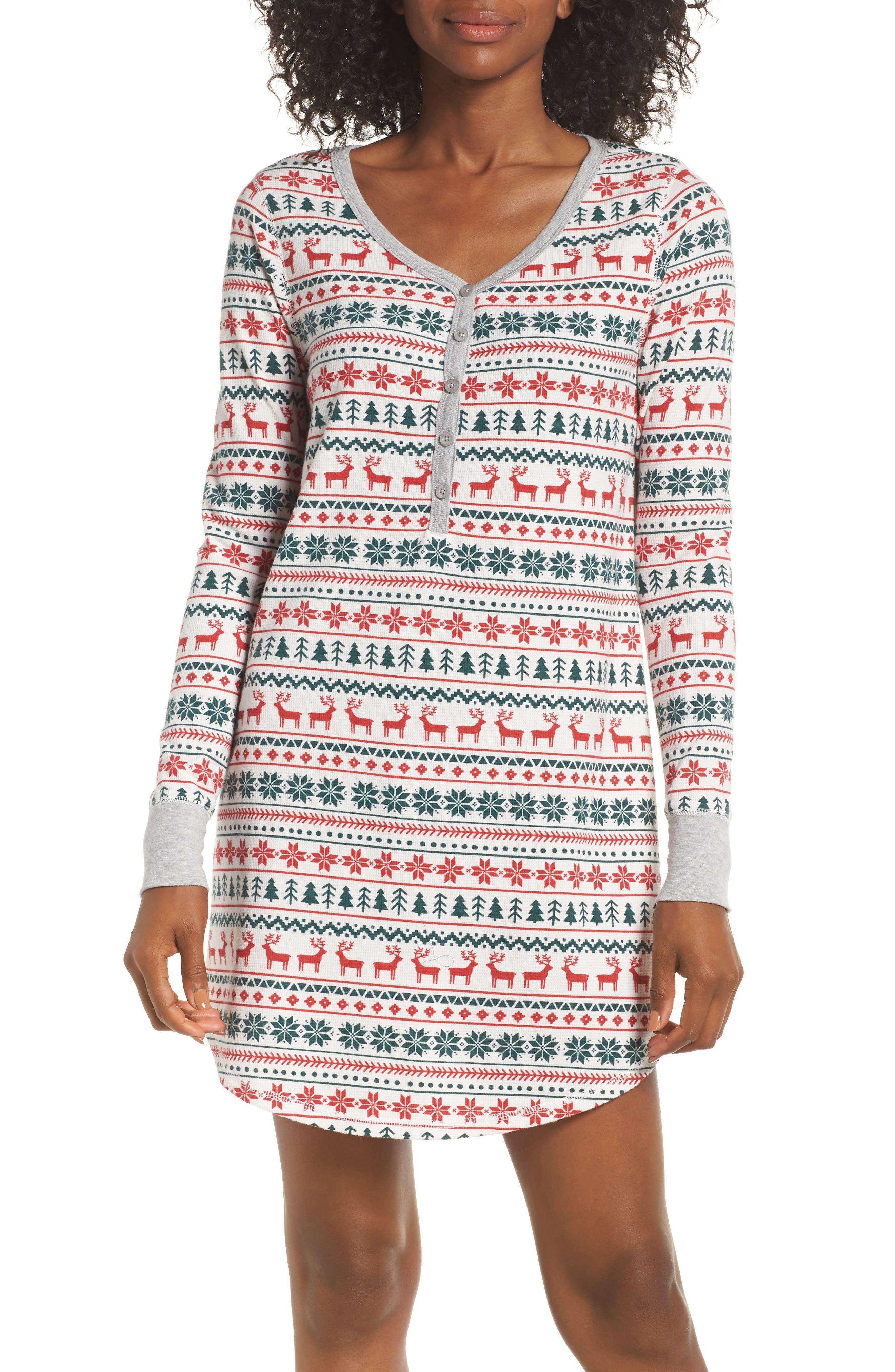 Lingerie Sleepyhead Thermal Nightshirt,                         Main,                         color, IVORY EGRET FAIRISLE SKETCH