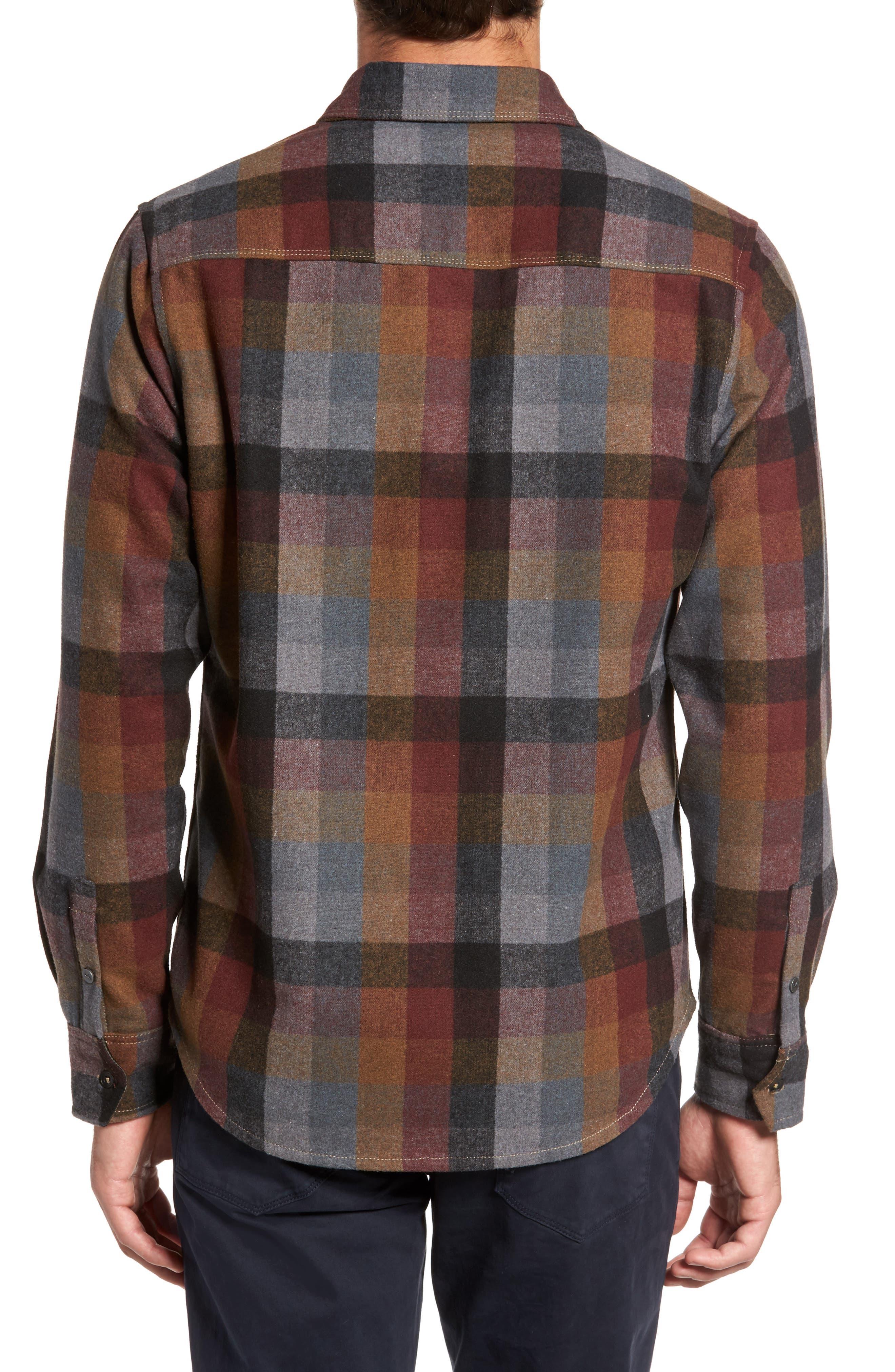 Heath Brushed Flannel Shirt,                             Alternate thumbnail 2, color,                             BURGUNDY