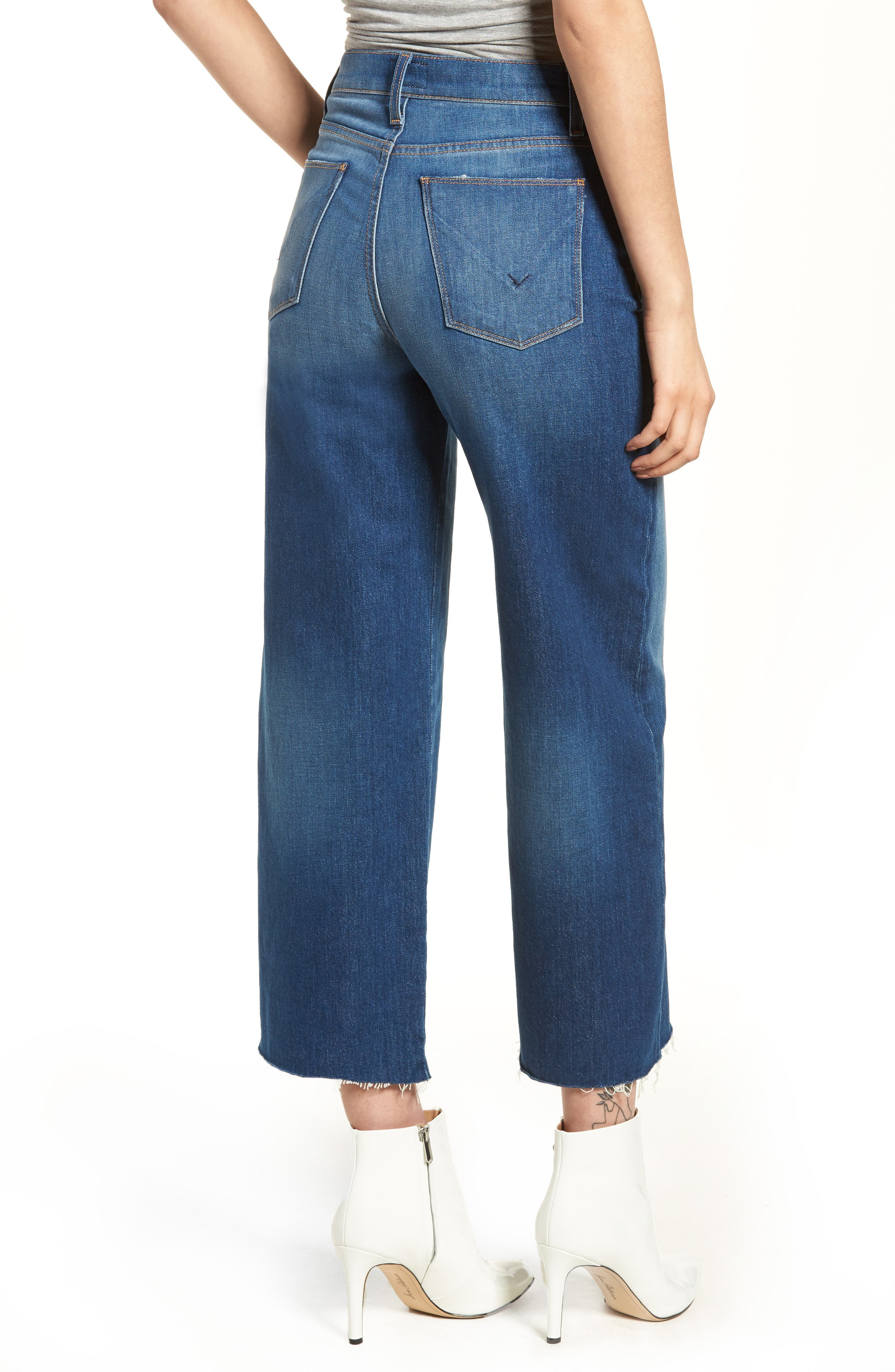 Holly High Waist Raw Hem Crop Wide Leg Jeans,                             Alternate thumbnail 2, color,                             OWN IT