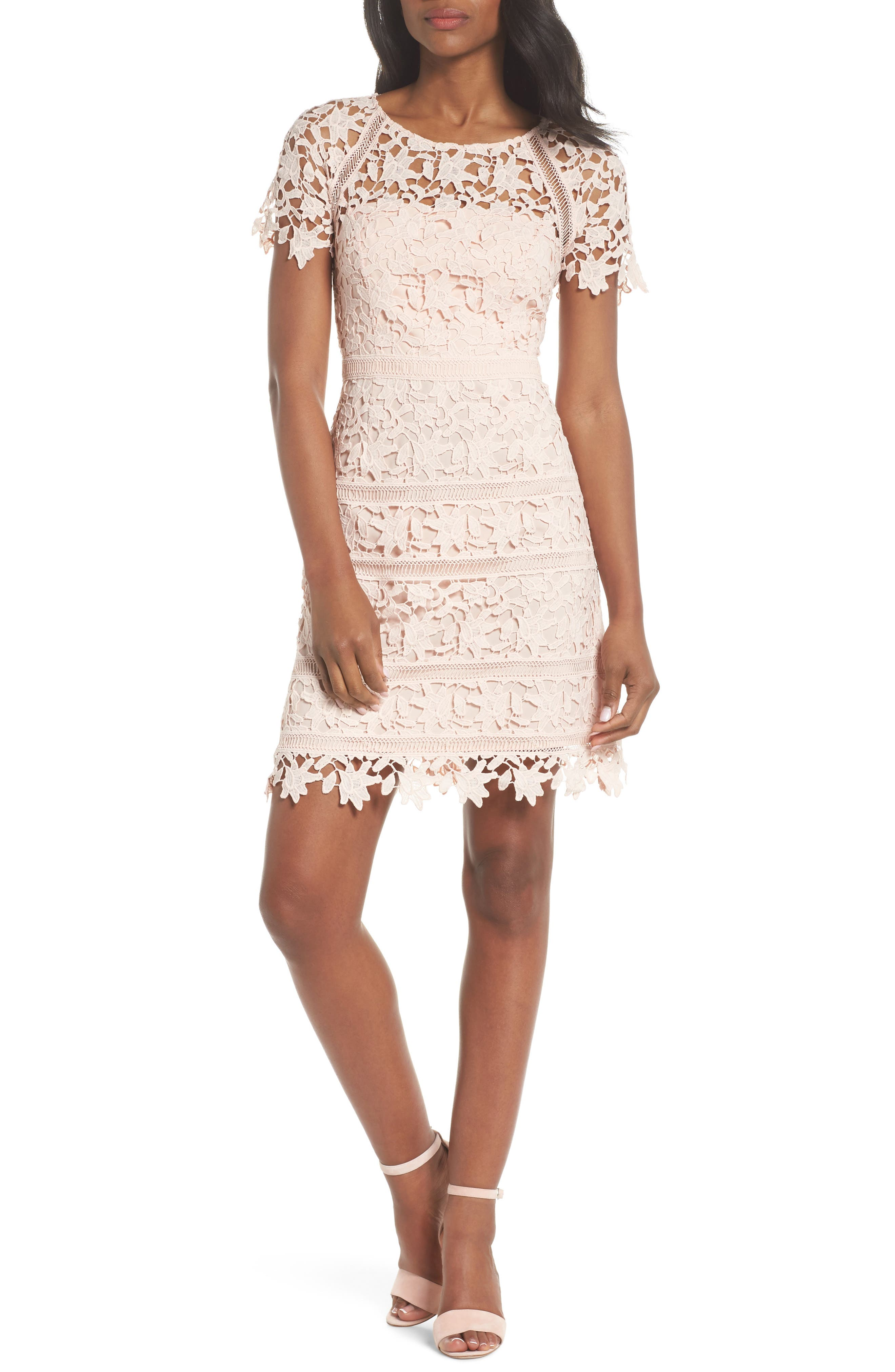 Crochet Overlay Dress,                             Alternate thumbnail 6, color,                             BLUSH