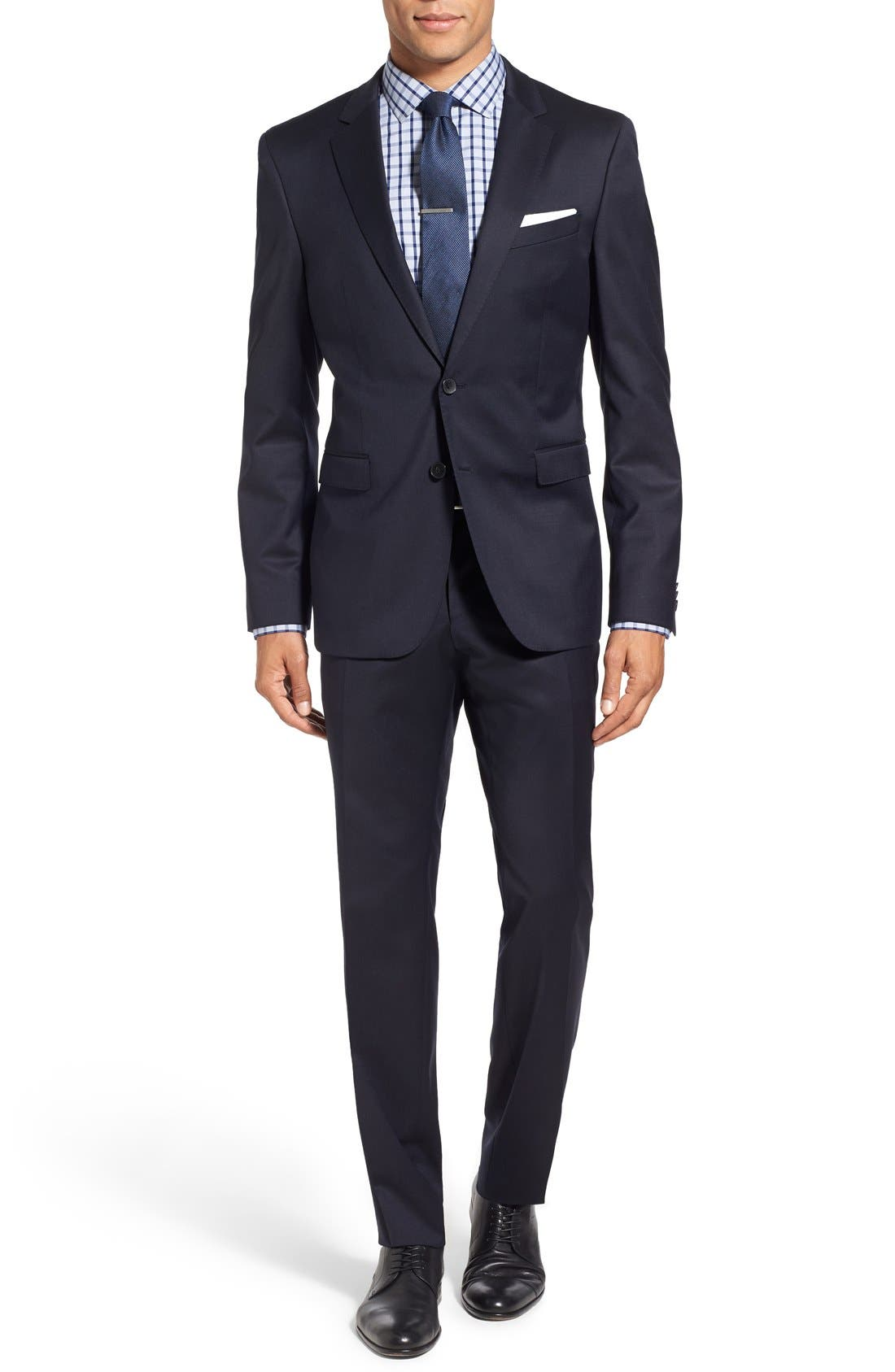 Ryan/Win Extra Trim Fit Solid Wool Suit,                             Main thumbnail 1, color,                             DARK BLUE