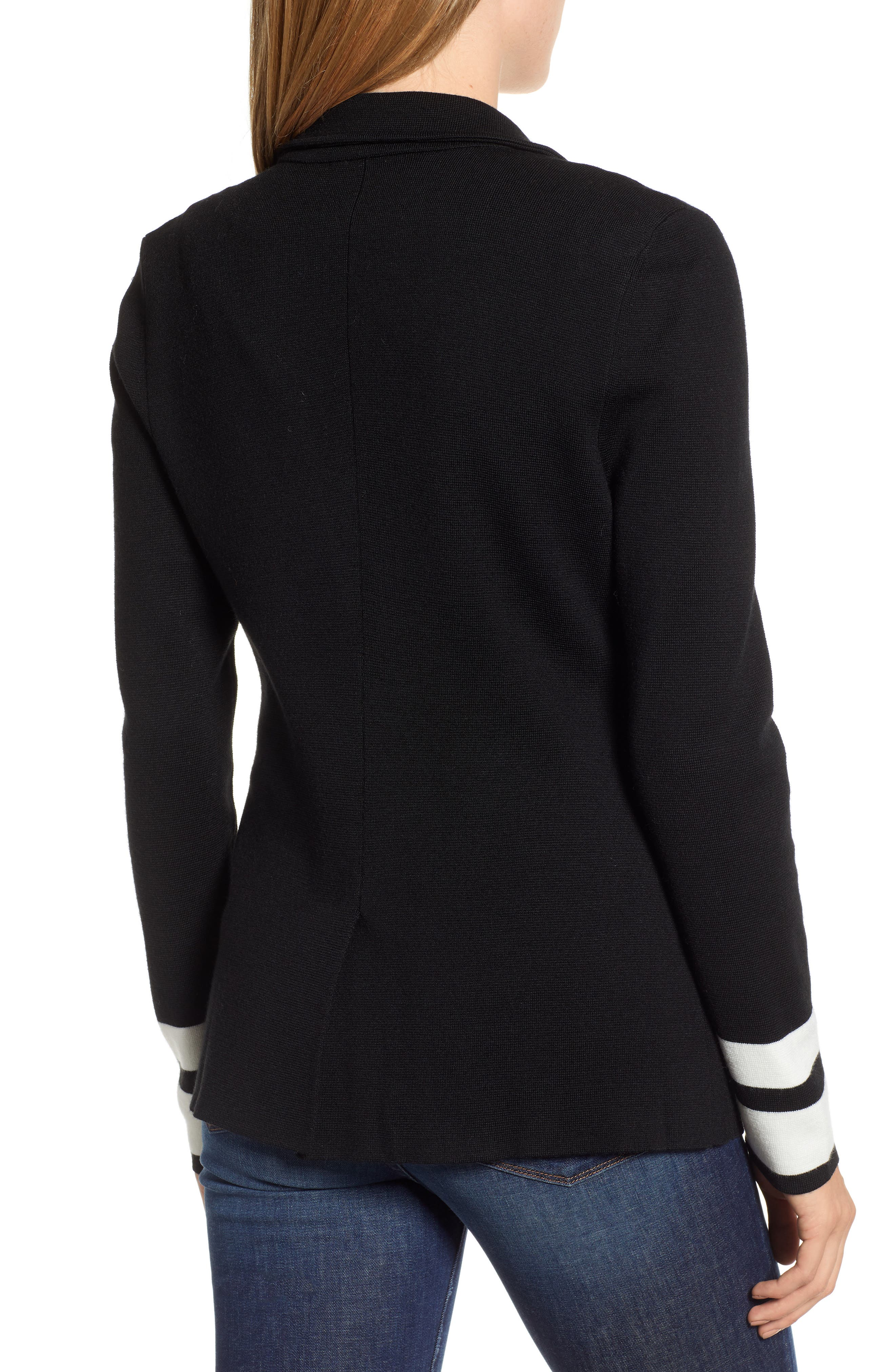 Stretch Wool Blend Sweater Blazer,                             Alternate thumbnail 2, color,                             BLACK- IVORY STRIPE