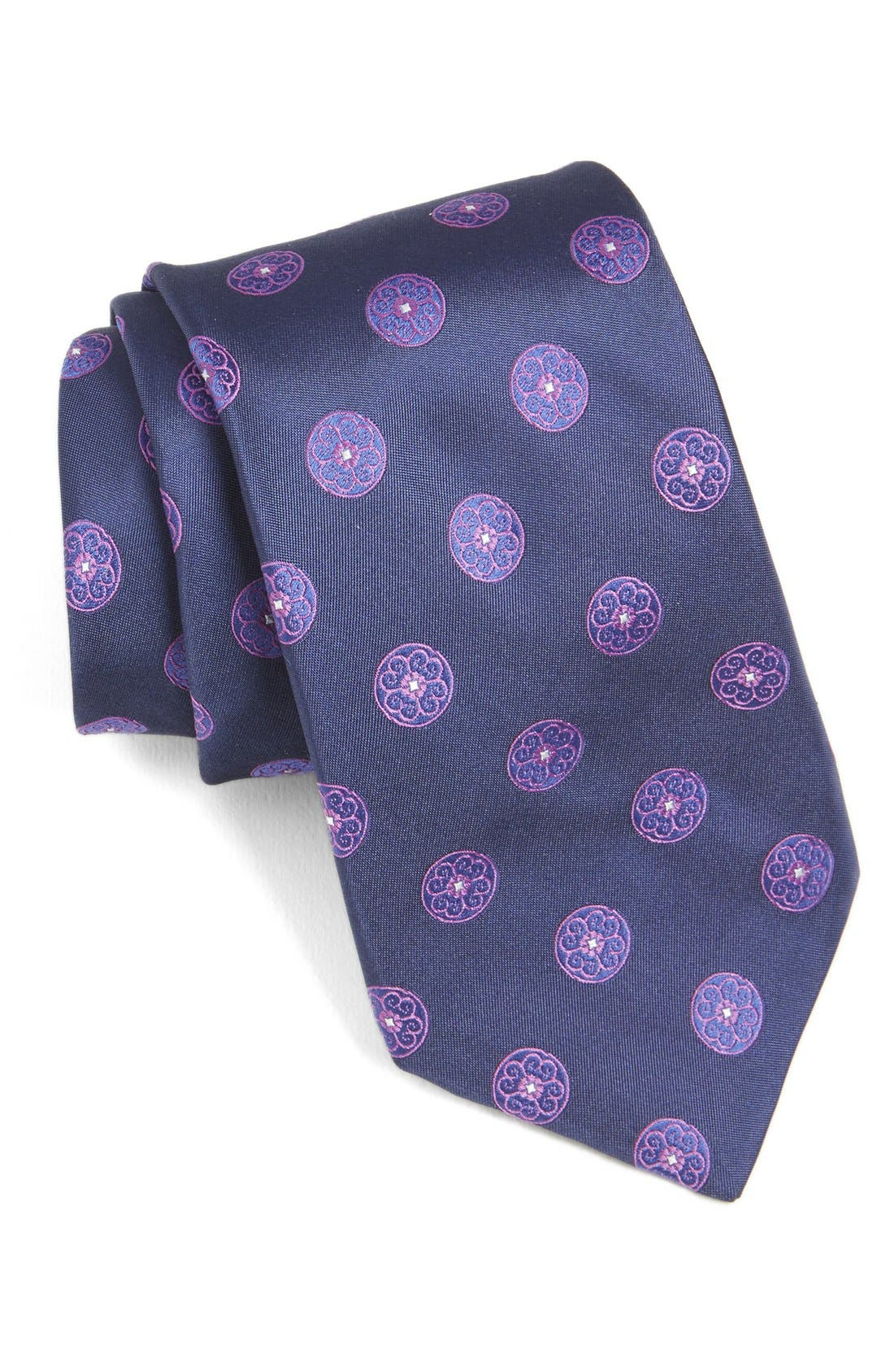 Medallion Woven Silk Tie,                             Main thumbnail 3, color,
