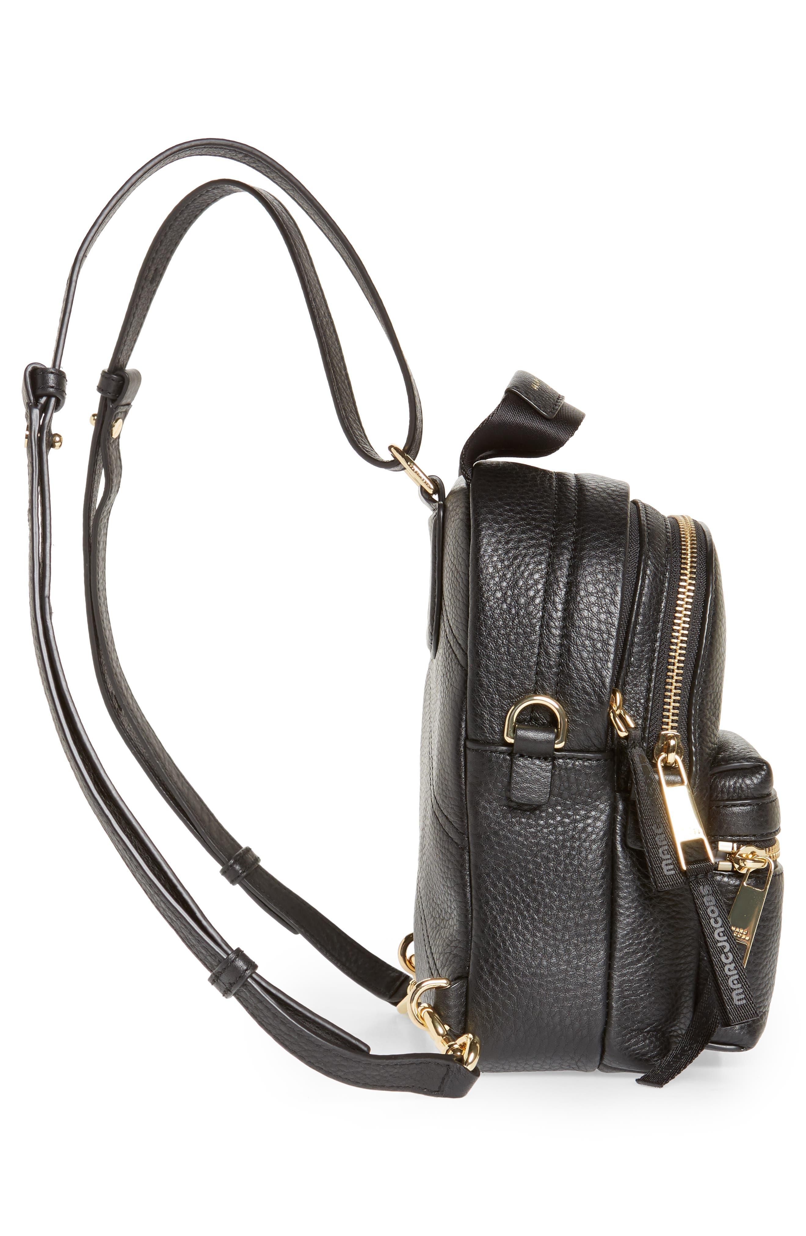 Mini Trek Leather Backpack,                             Alternate thumbnail 6, color,                             BLACK