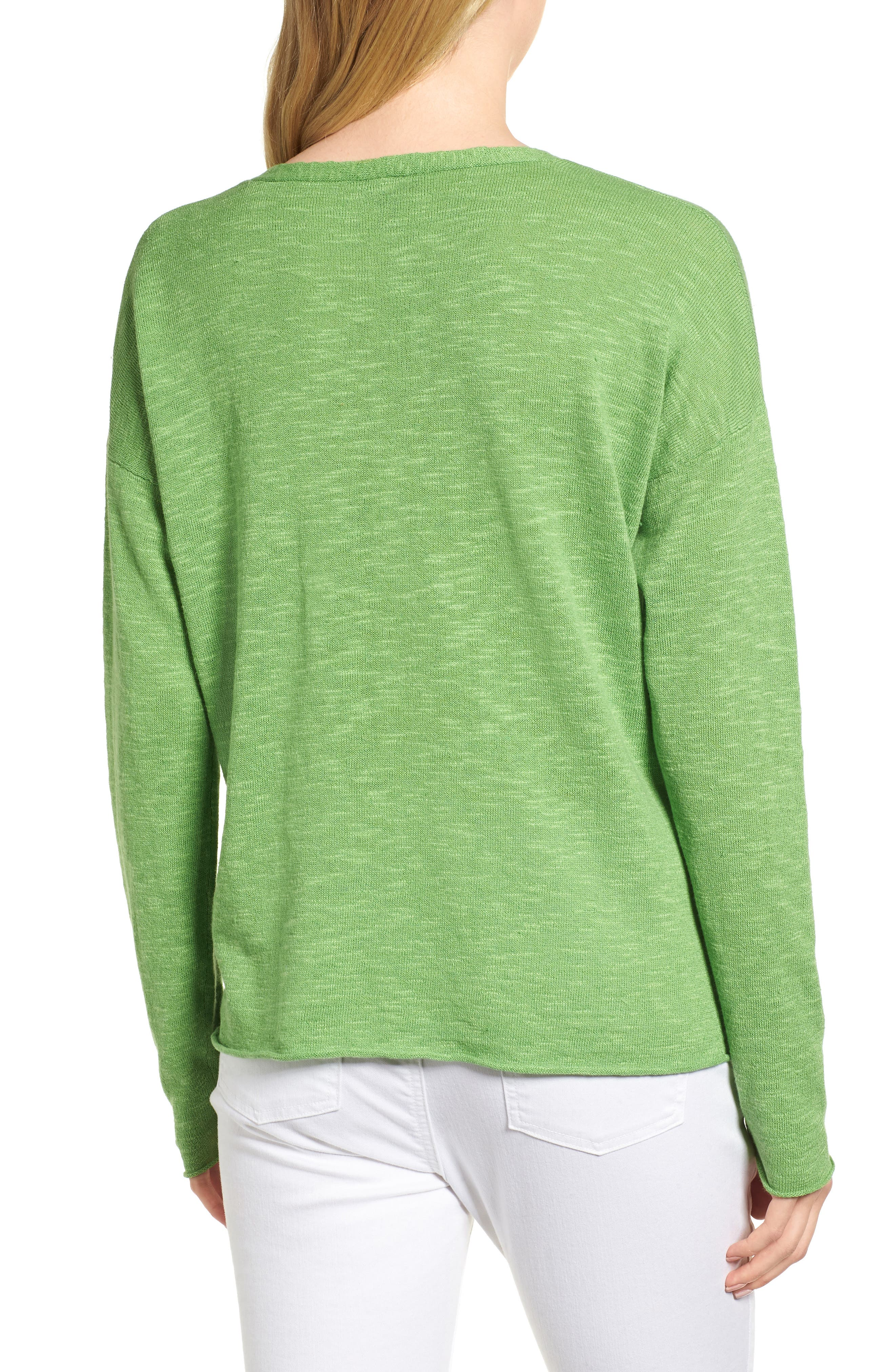 Boxy Organic Linen & Cotton Sweater,                             Alternate thumbnail 7, color,