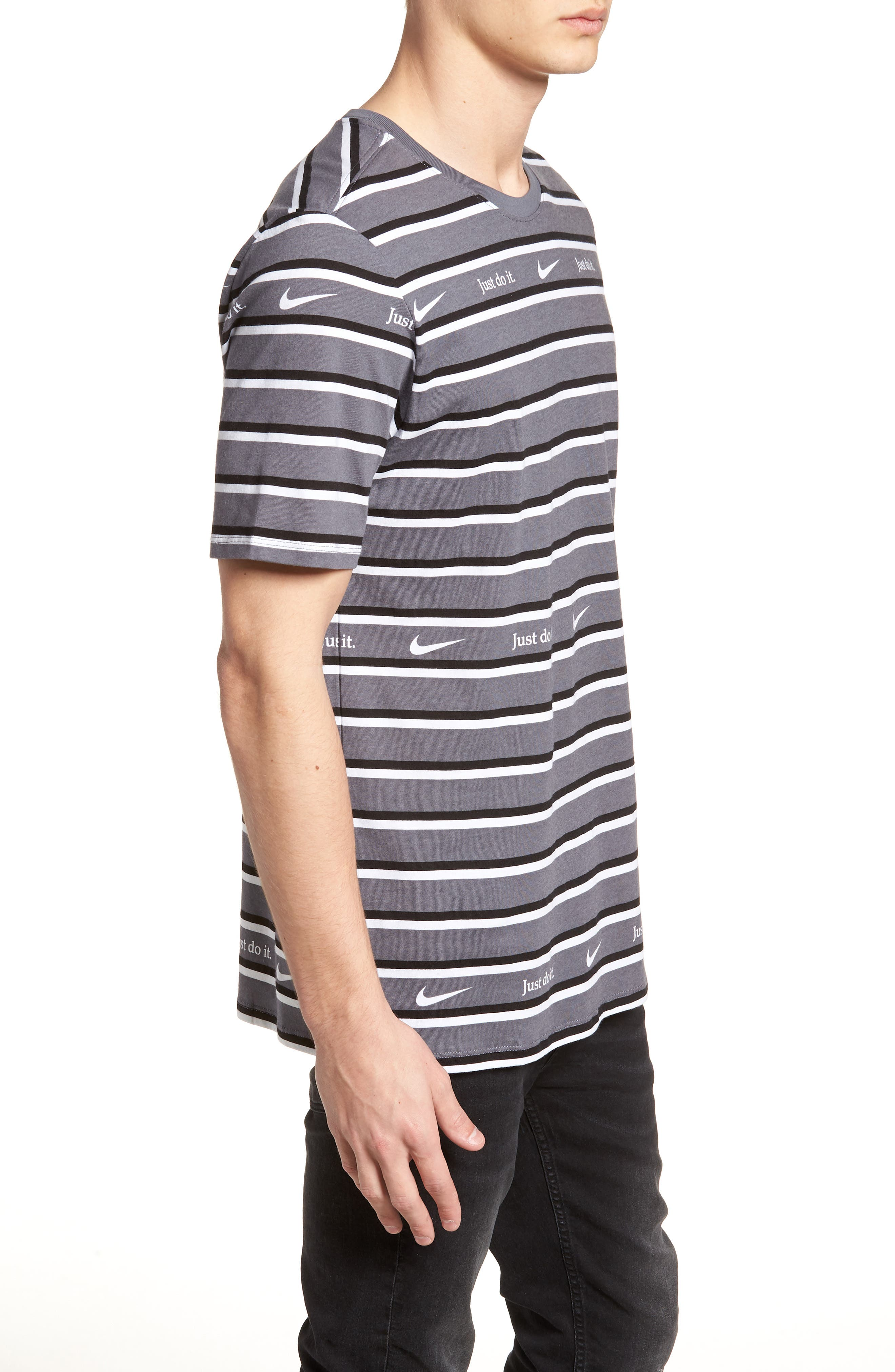 Just Do It Stripe T-Shirt,                             Alternate thumbnail 3, color,                             WHITE/ GUN SMOKE