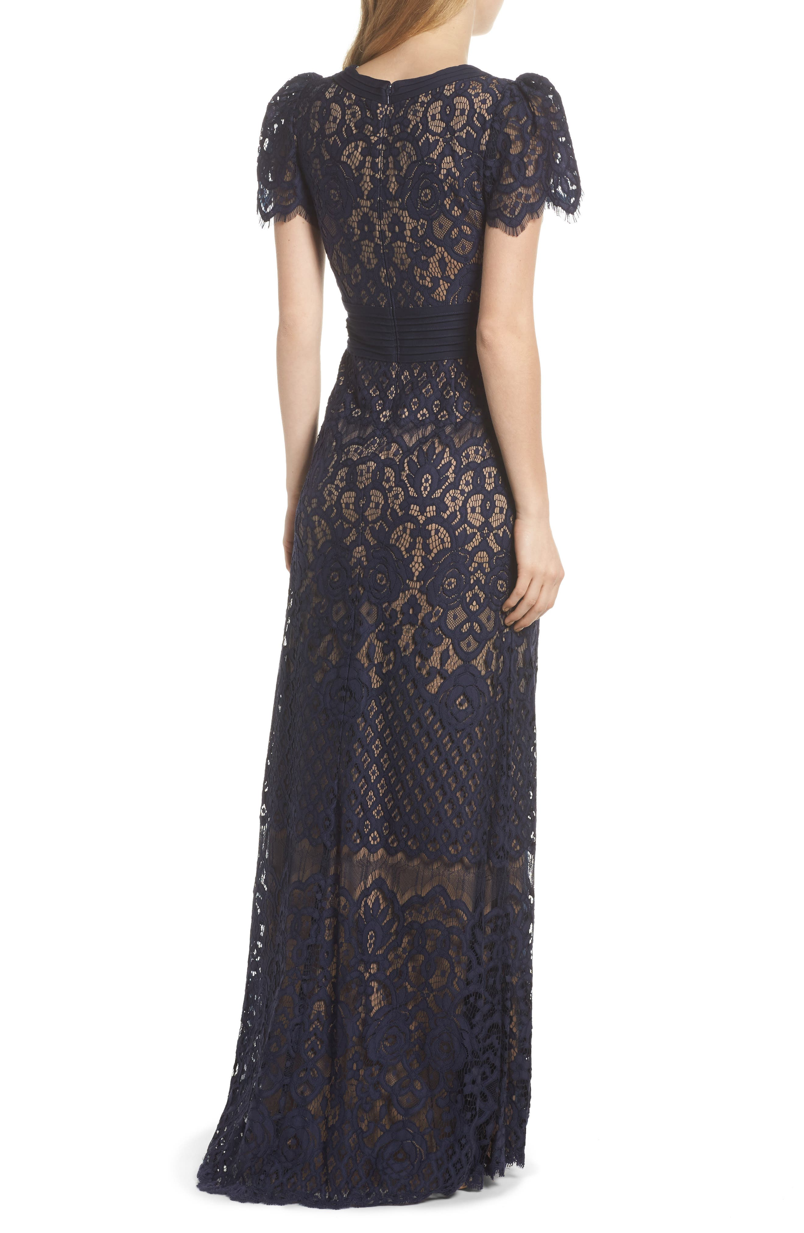 Pintuck Detail Lace Gown,                             Alternate thumbnail 2, color,                             408