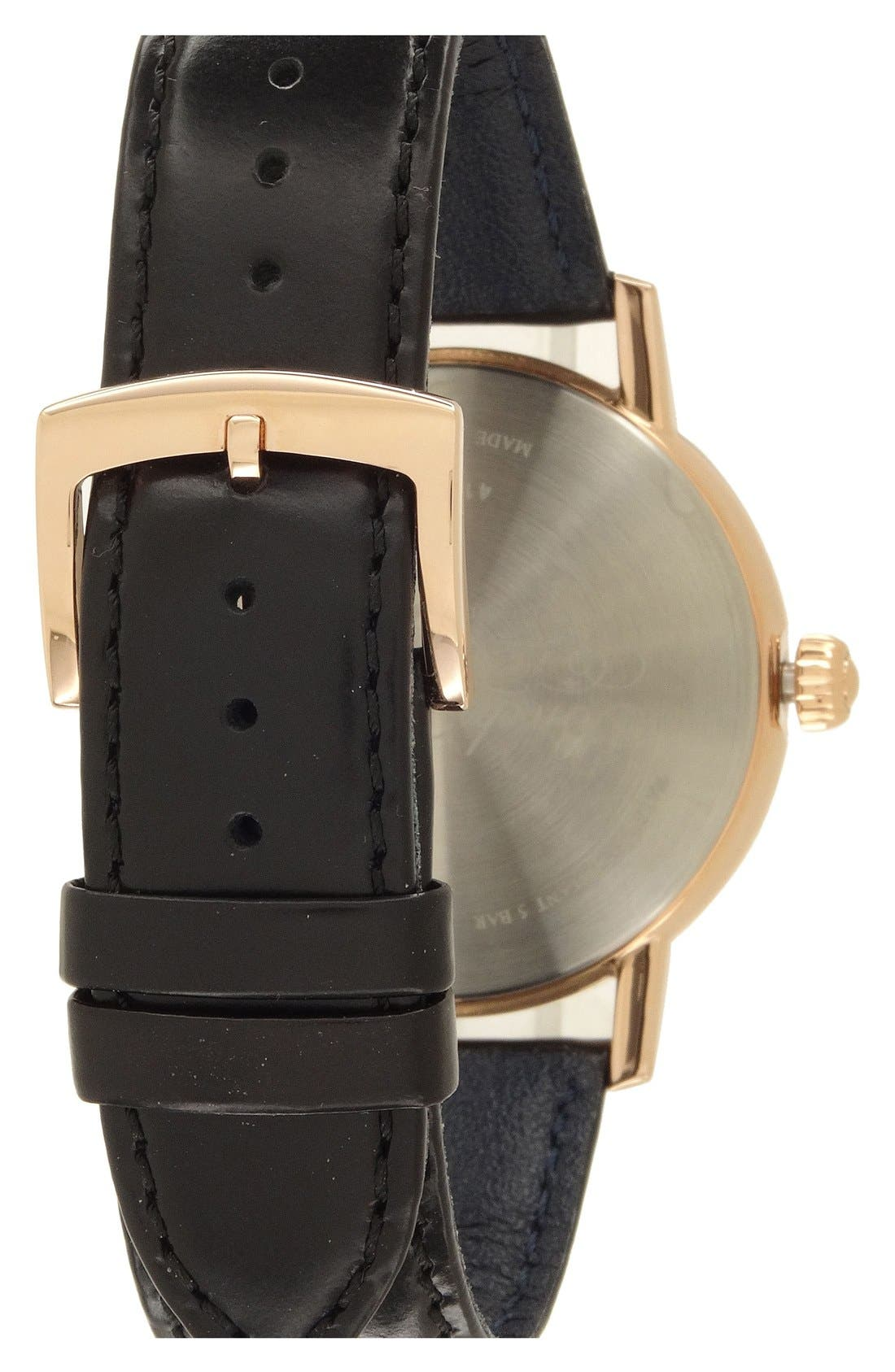 'Core' Automatic Leather Strap Watch, 42mm,                             Alternate thumbnail 2, color,                             001