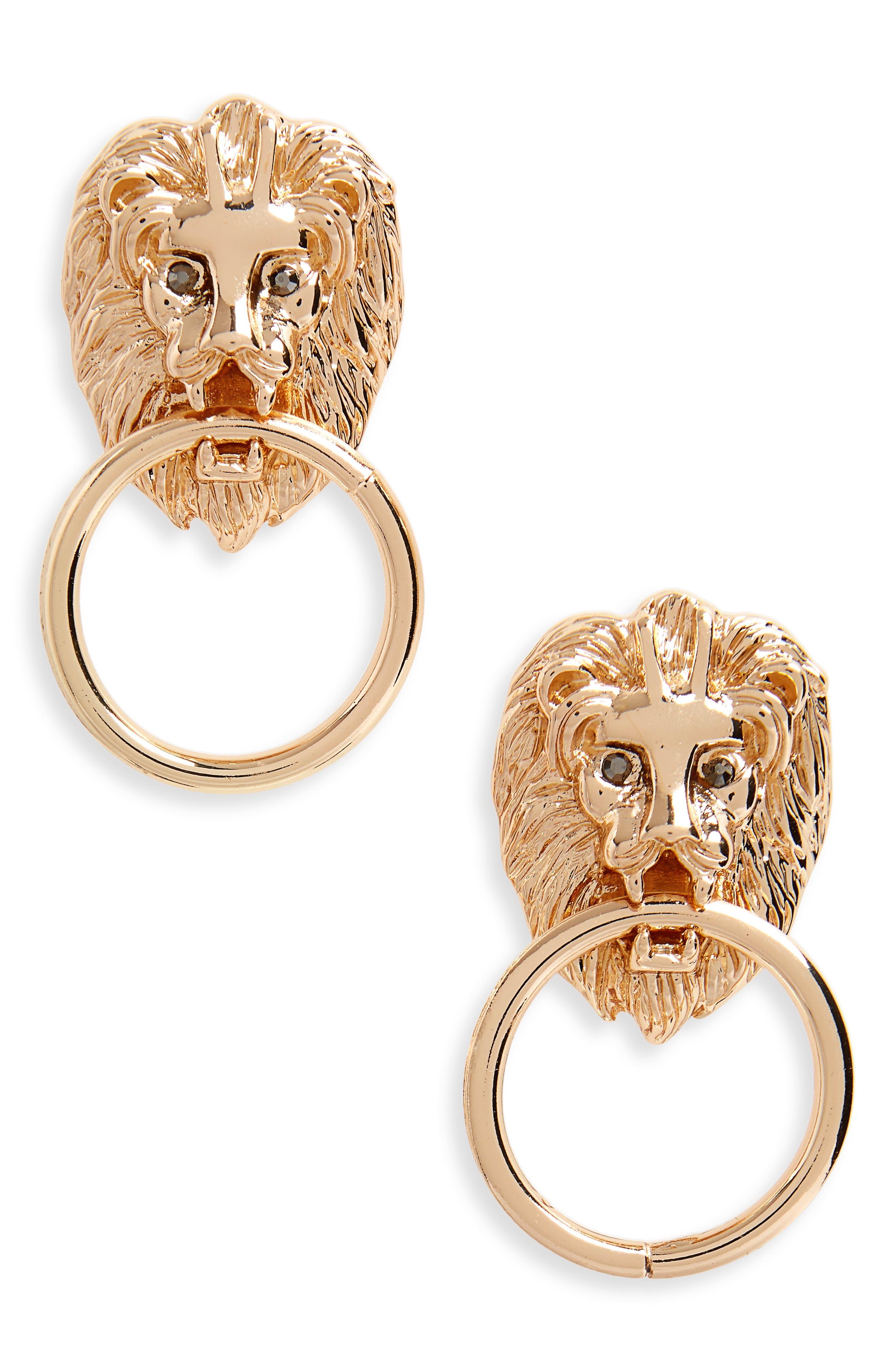 Crystal Lion Doorknocker Earrings,                             Main thumbnail 1, color,                             710