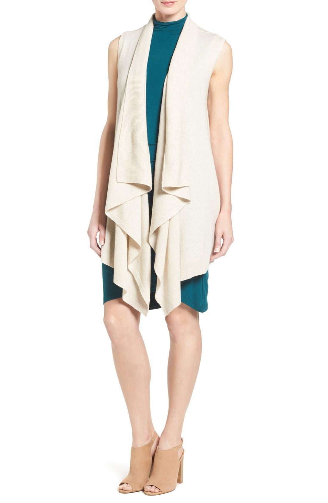 Wool & Cashmere Drape Front Sweater Vest,                             Main thumbnail 5, color,