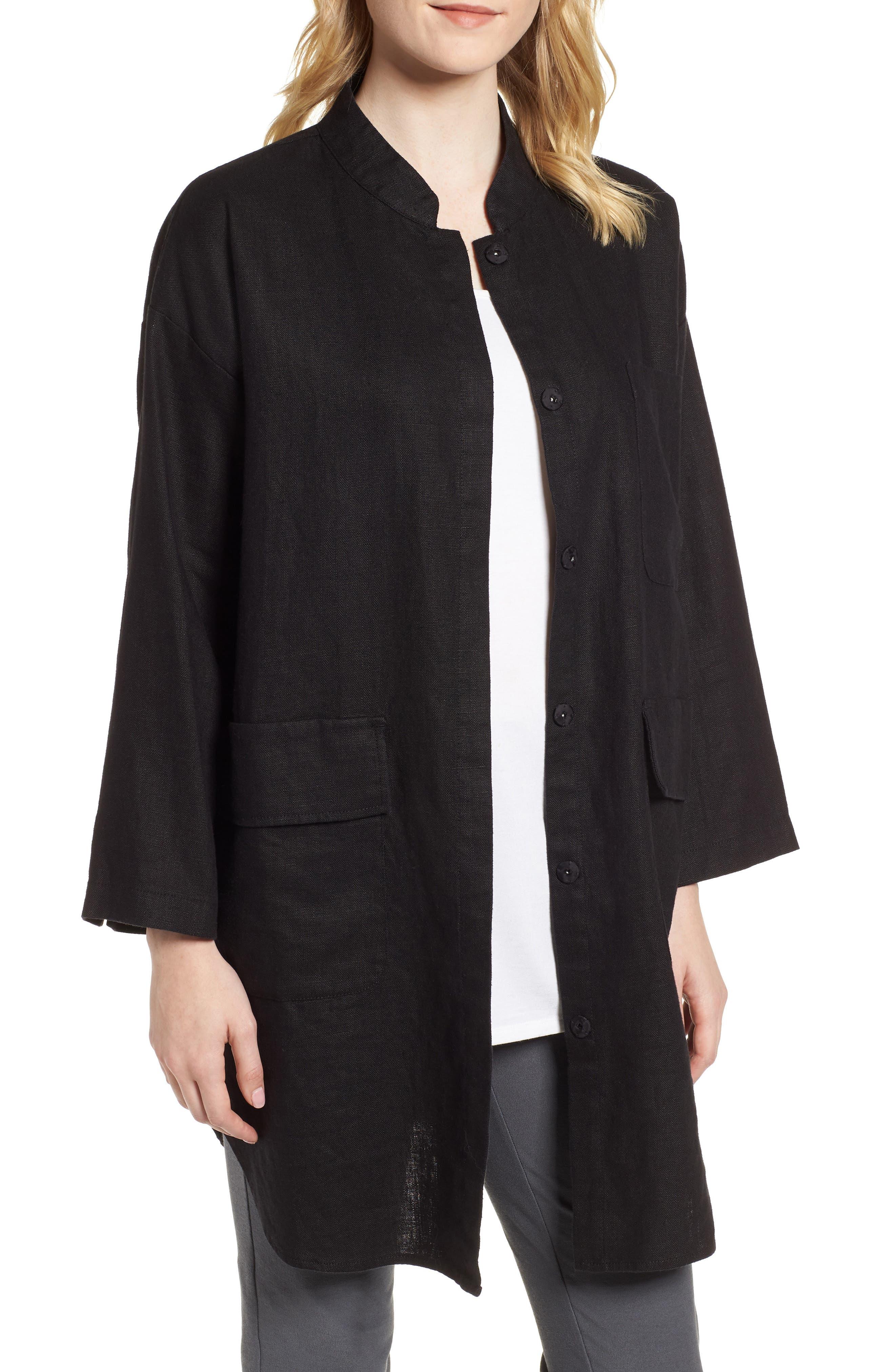 Organic Linen Jacket,                         Main,                         color, 001