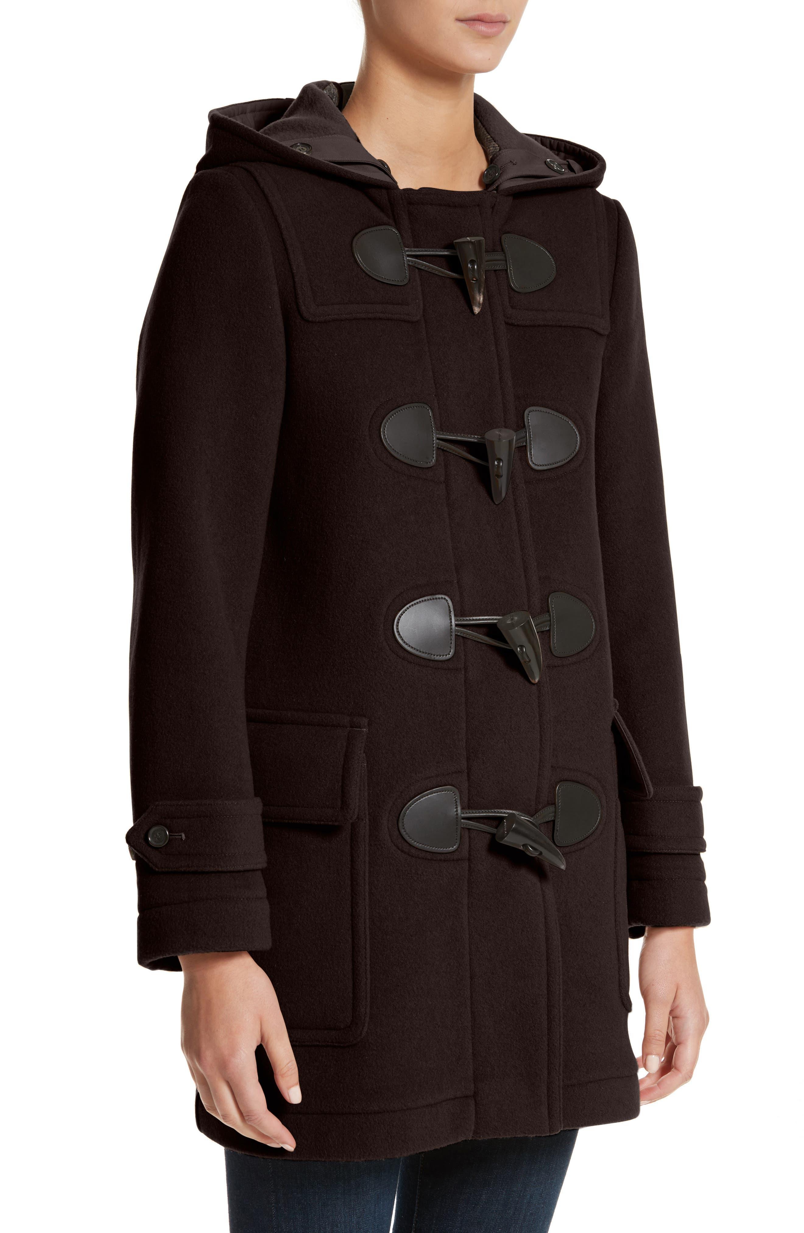 Mersey Wool Blend Duffle Coat,                             Alternate thumbnail 4, color,                             001