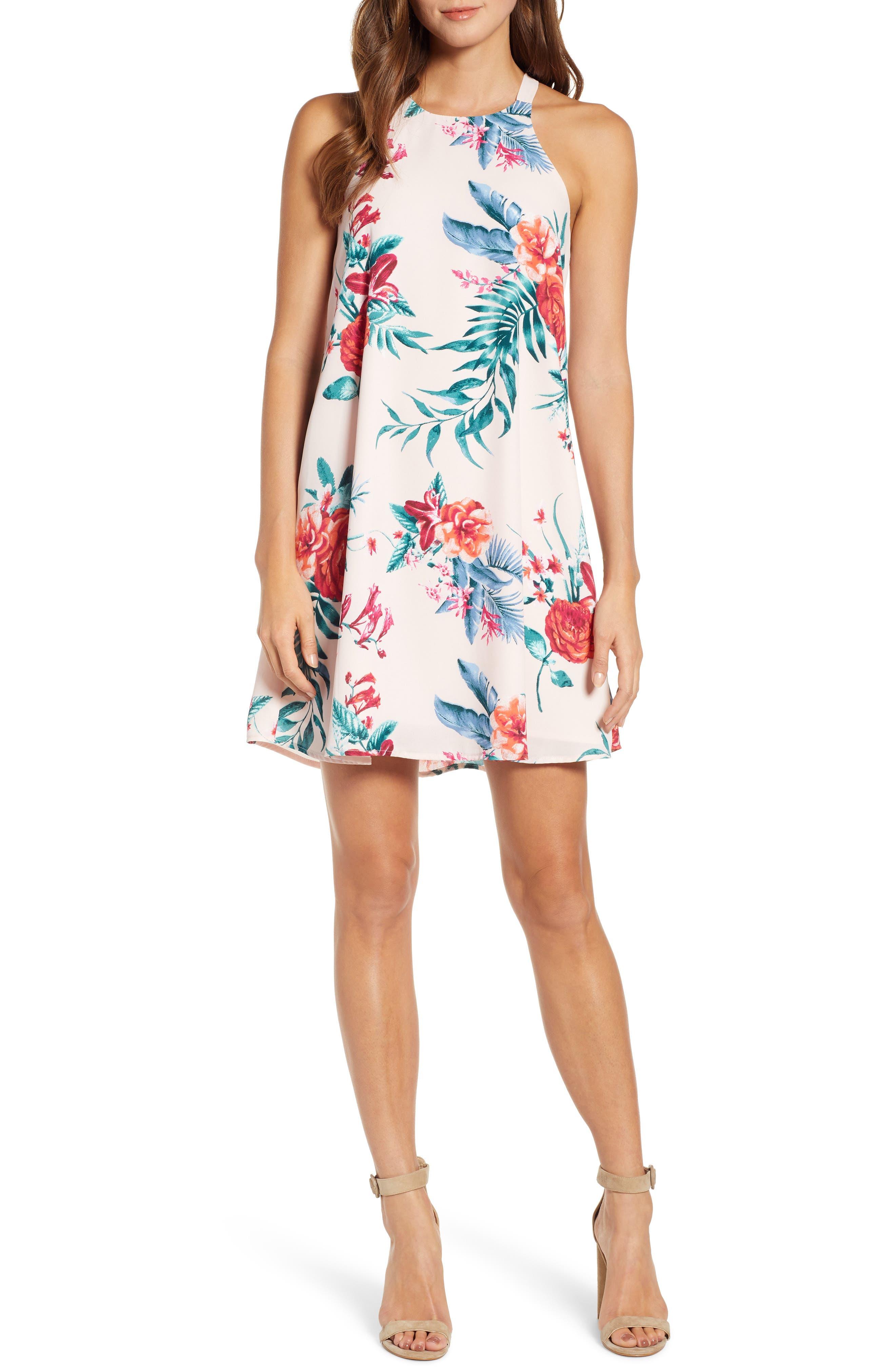 women's gibson x hi sugarplum! naples swing halter dress, size x-large - pink